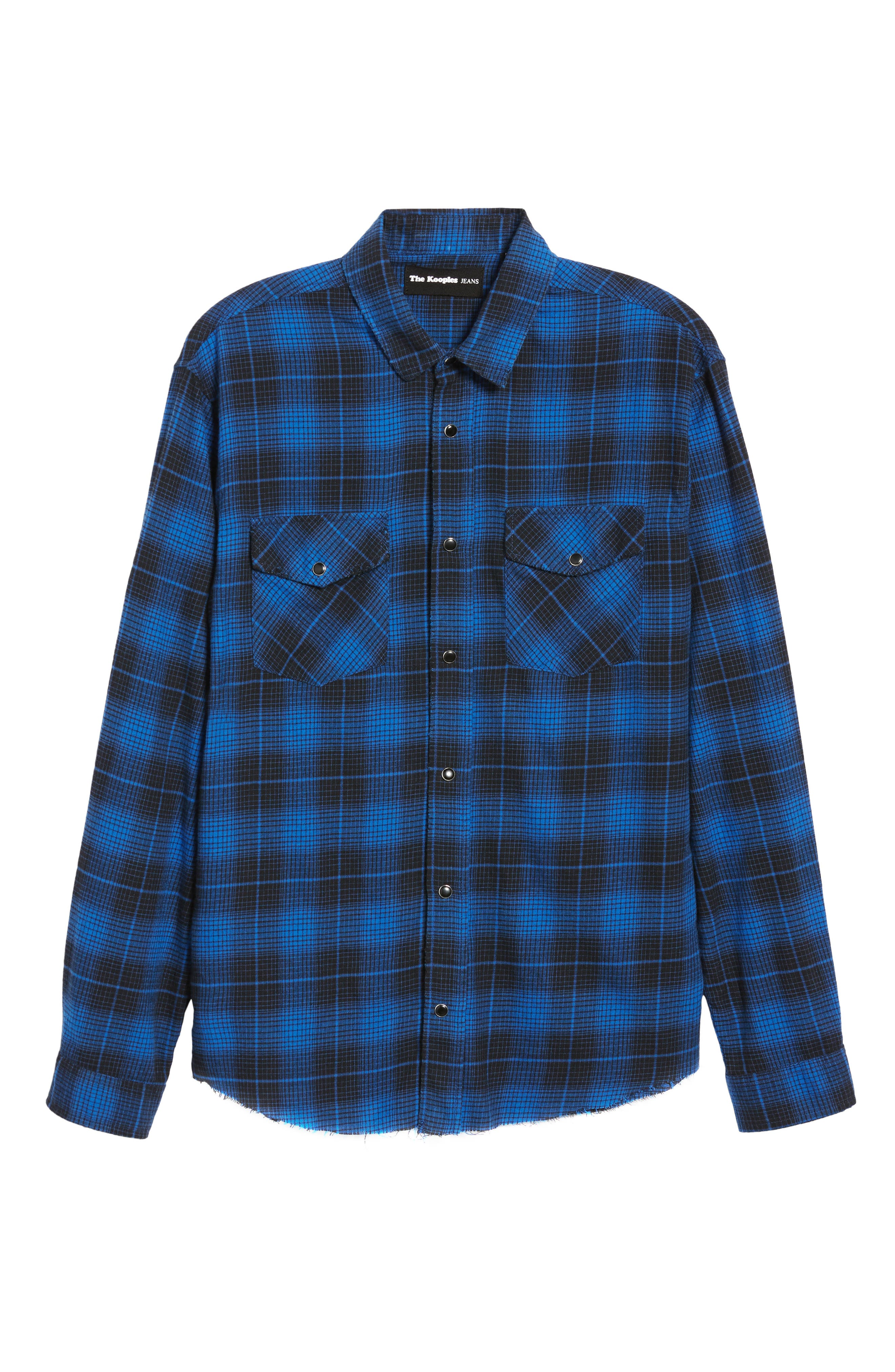 THE KOOPLES,                             Plaid Flannel Shirt,                             Alternate thumbnail 5, color,                             ROYAL BLUE / BLACK