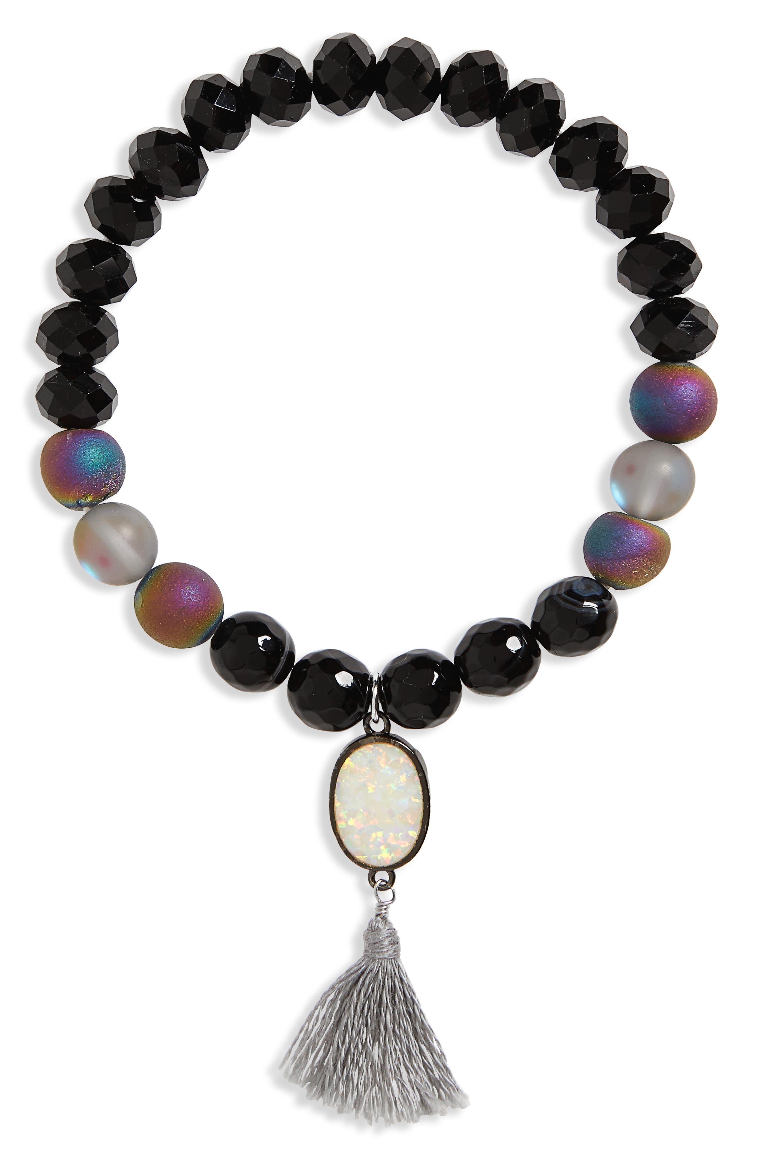 Stone & Tassel Stretch Bracelet,                         Main,                         color, 001