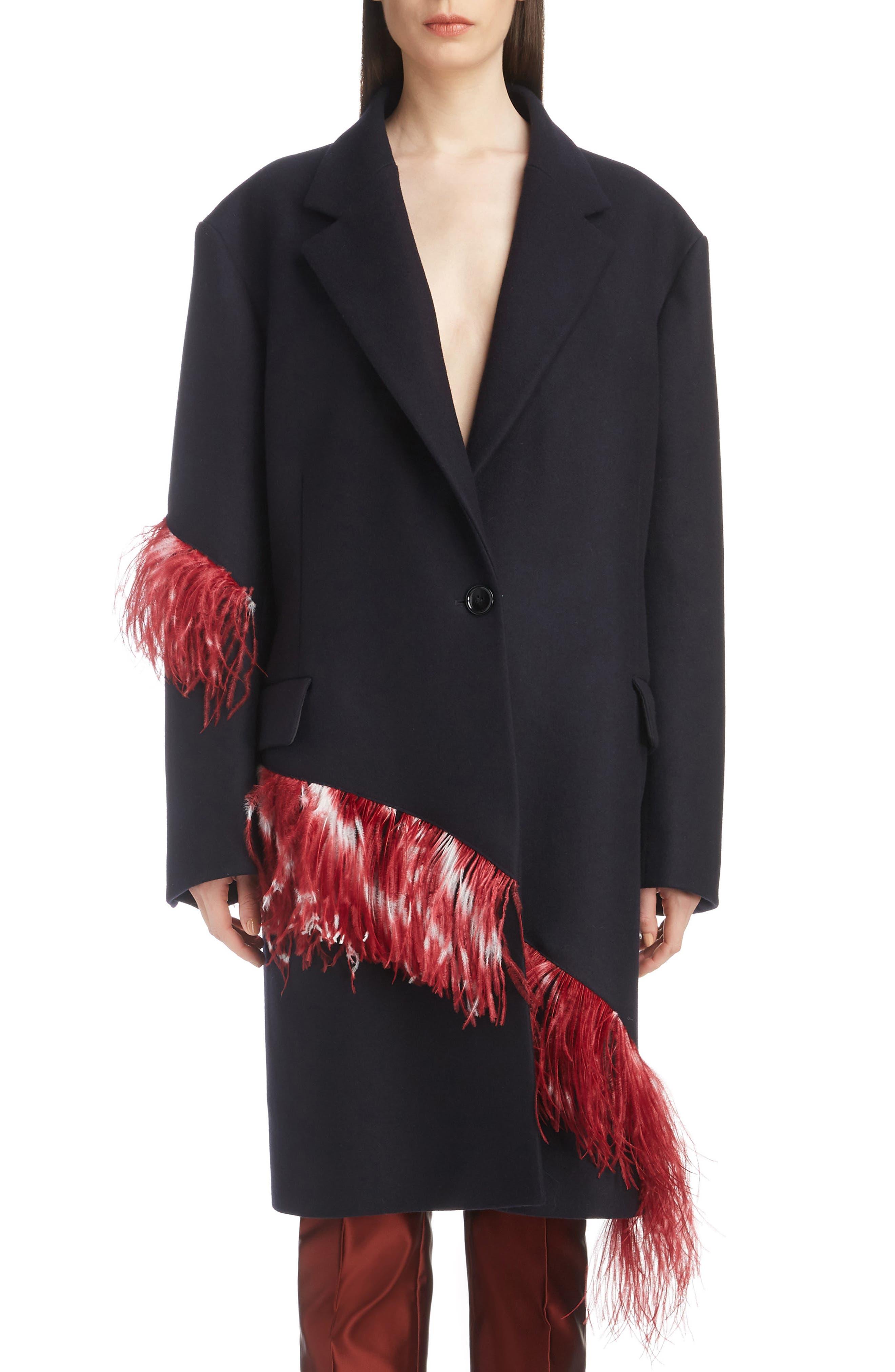 DRIES VAN NOTEN,                             Ostrich Feather Trim Wool Blend Reefer Coat,                             Main thumbnail 1, color,                             421