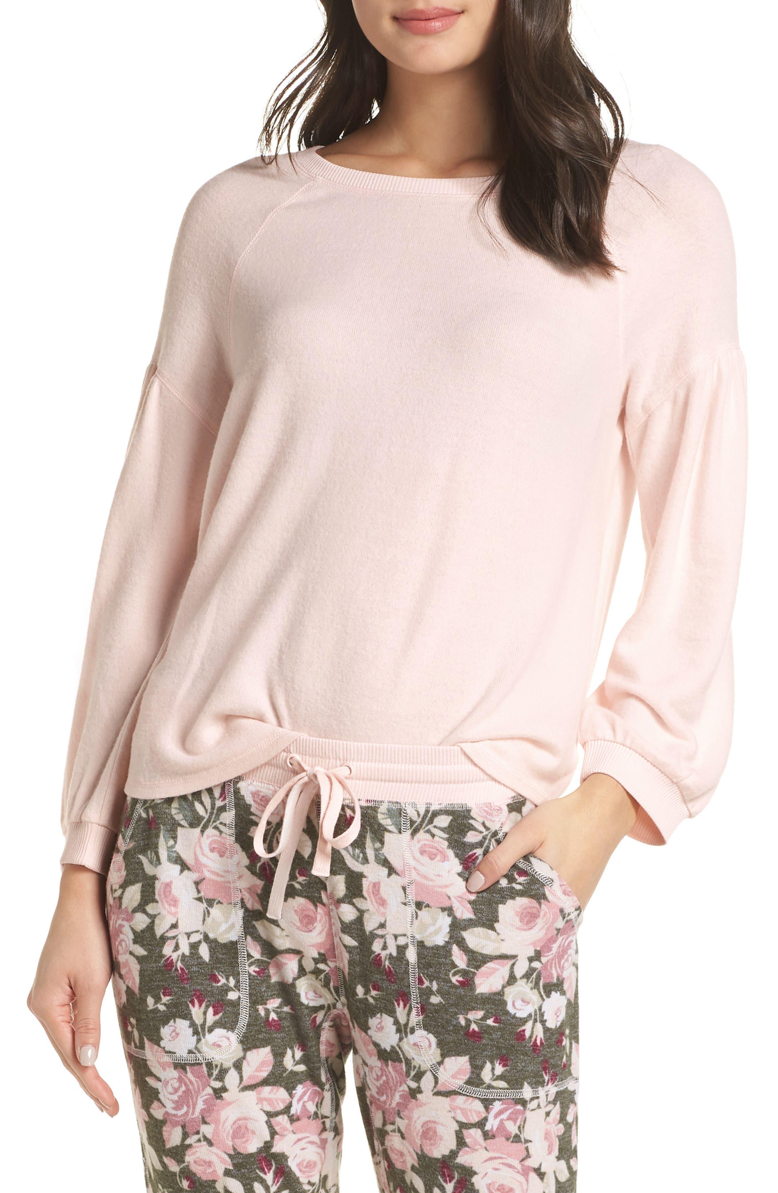 Splendid Full Sleeve Pajama Top, Pink