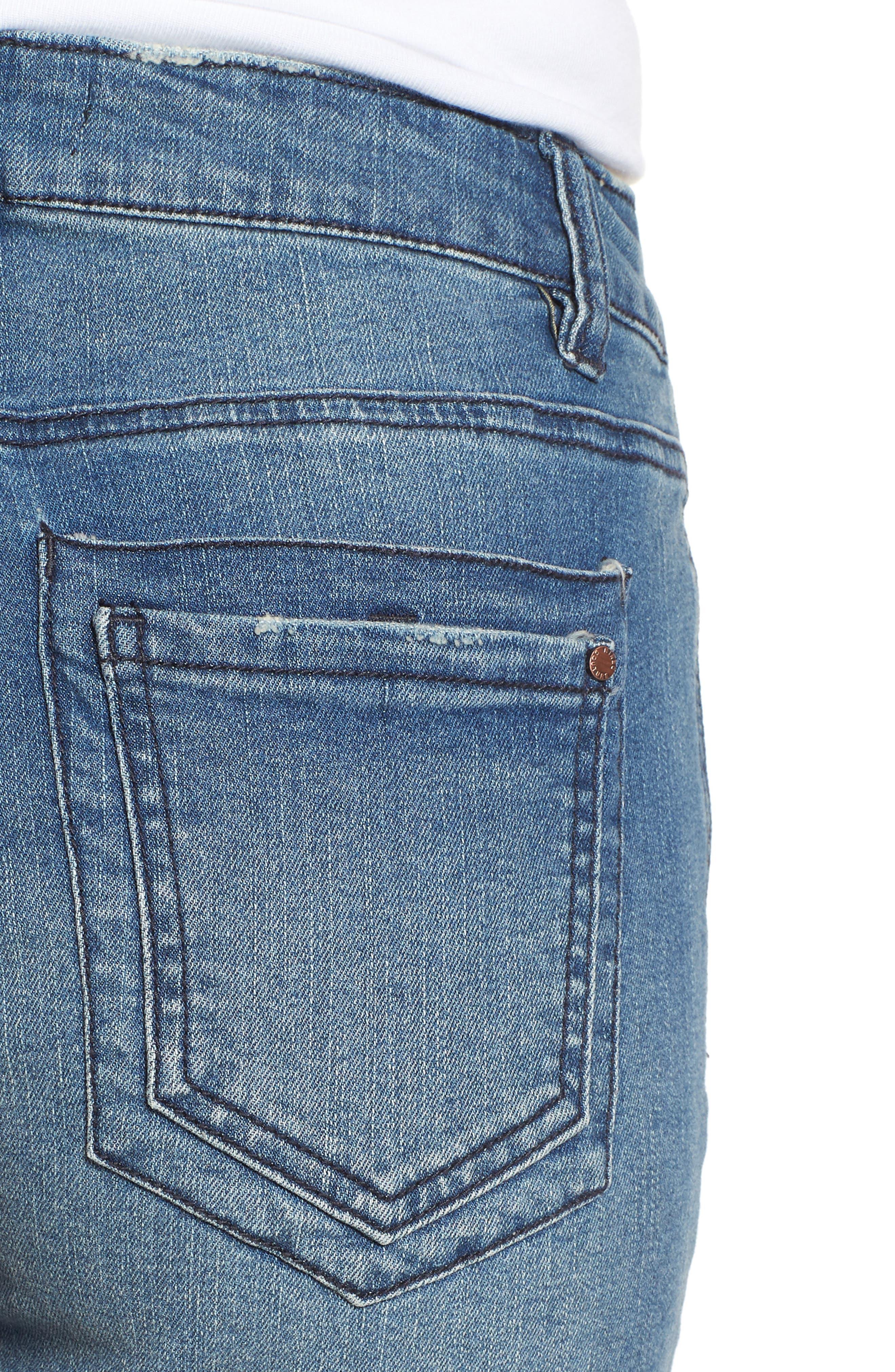 TINSEL,                             Fray Hem Denim Bermuda Shorts,                             Alternate thumbnail 4, color,                             400