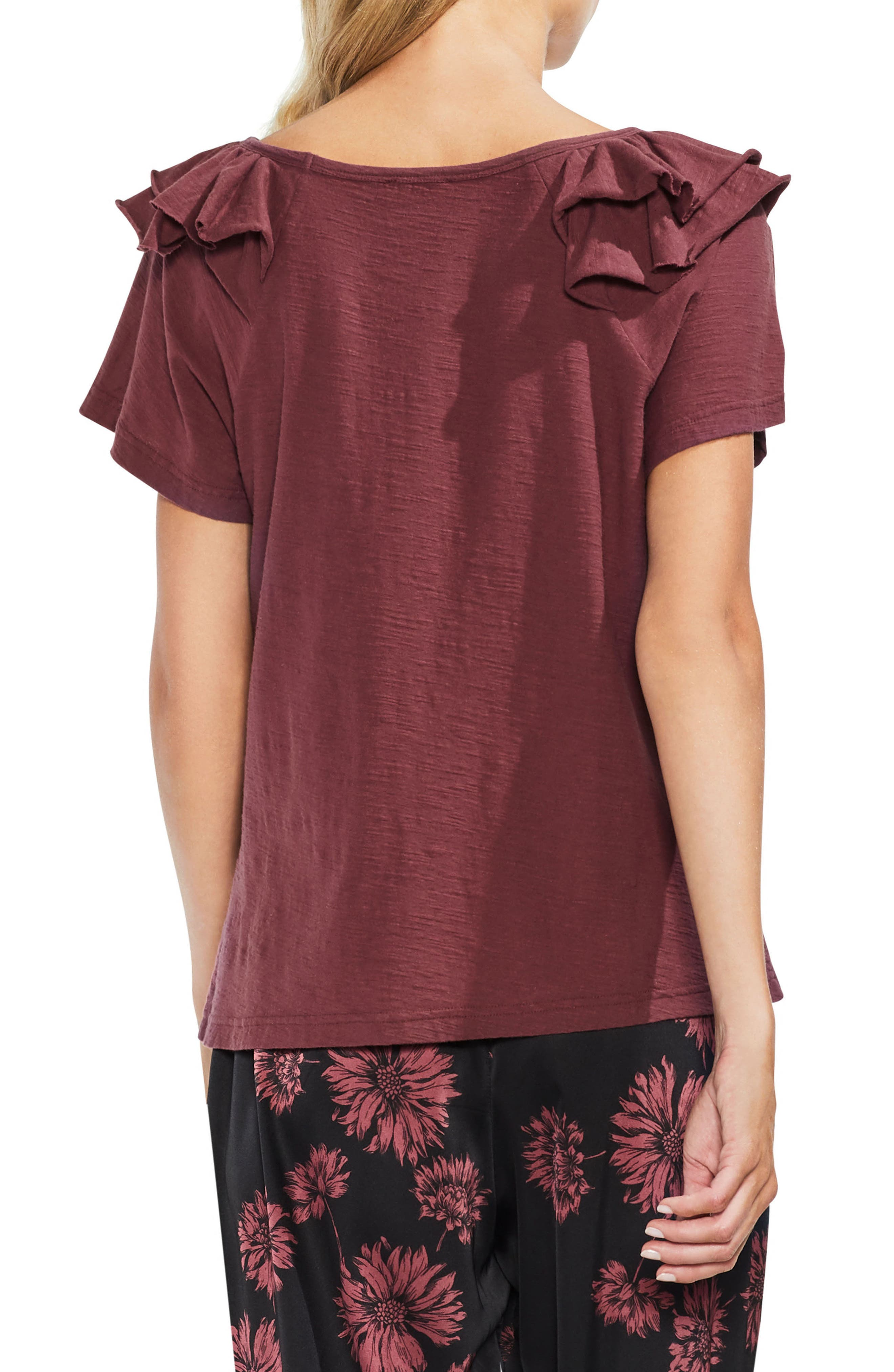Shoulder Ruffle Tee,                             Alternate thumbnail 2, color,                             600