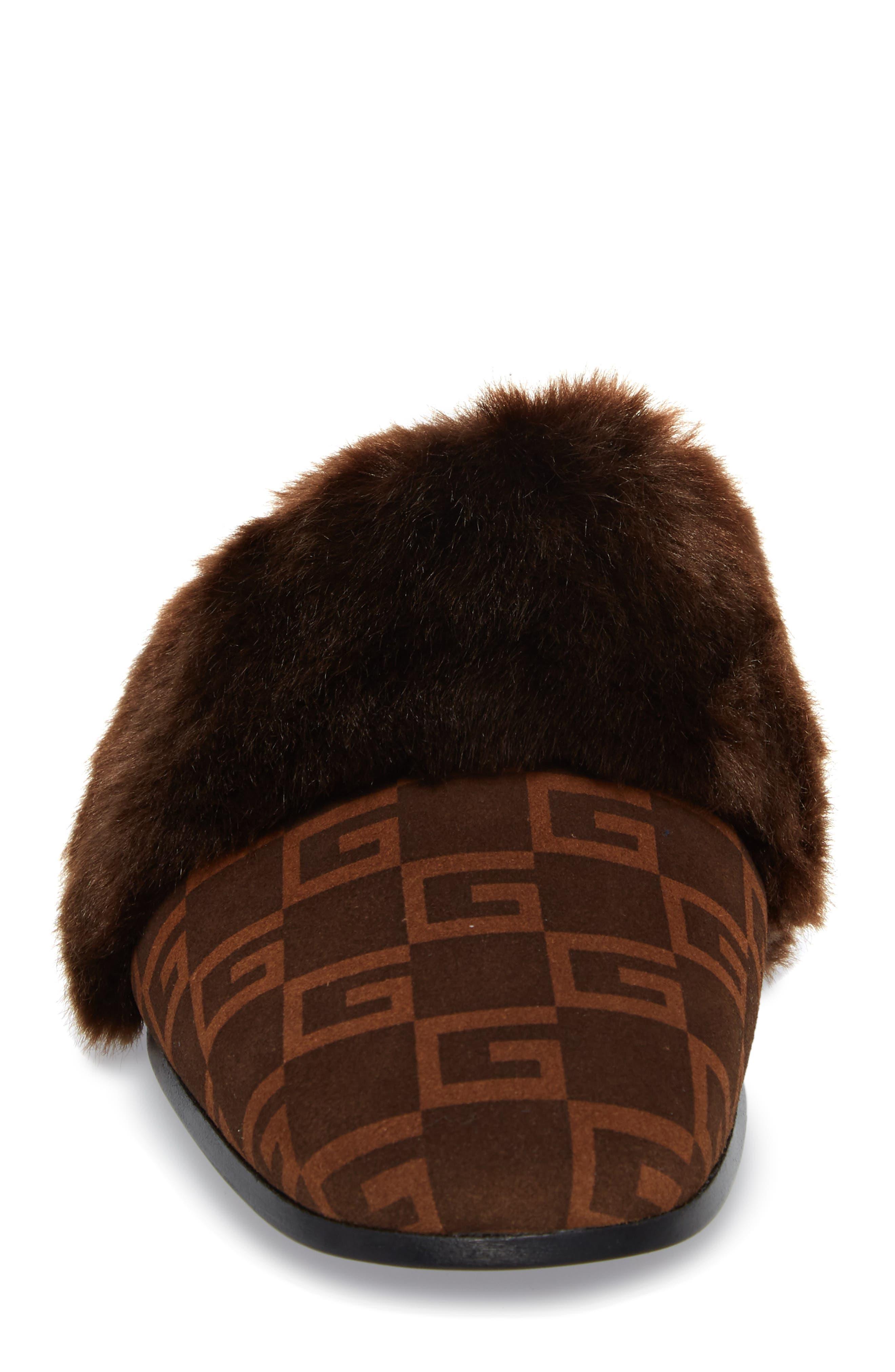 Square-G Faux Fur Slipper,                             Alternate thumbnail 4, color,                             BROWN/ SIGARO