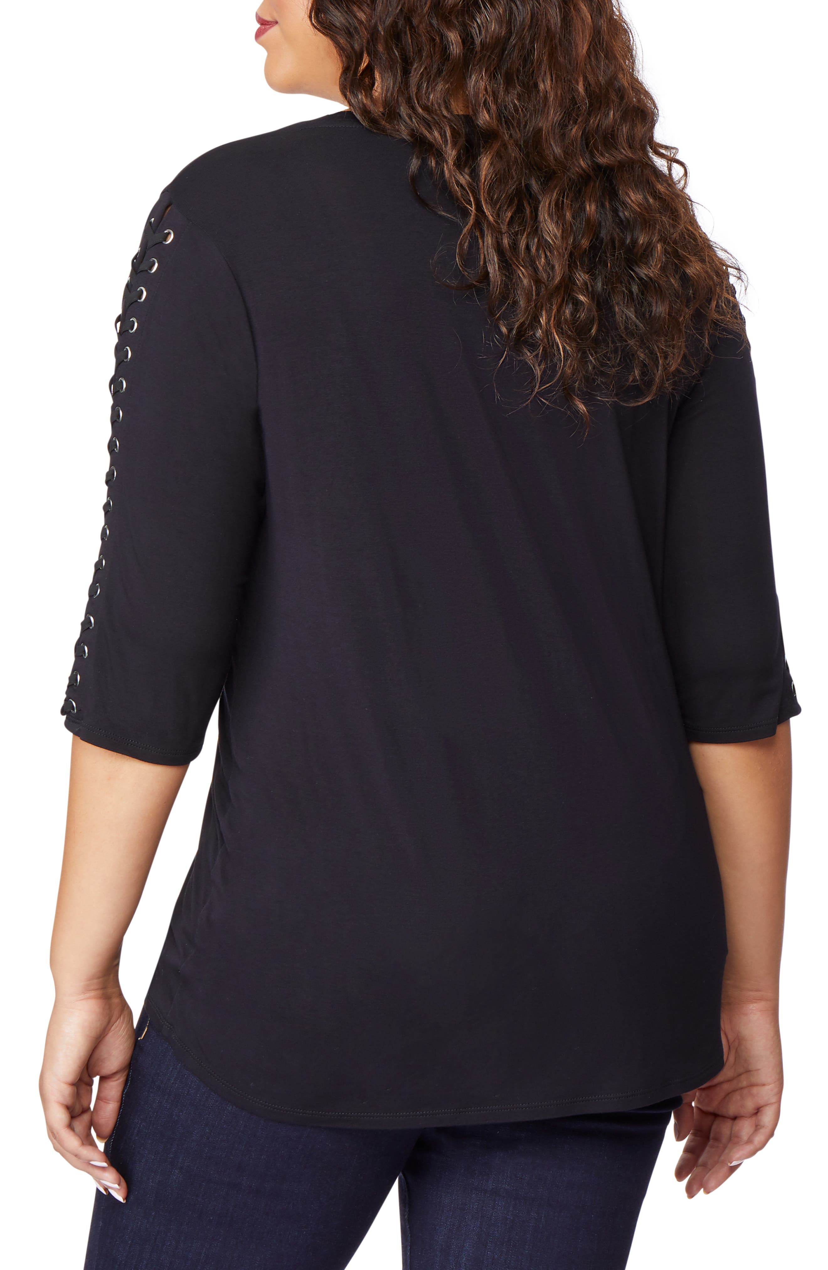 Lace-Up Sleeve Top,                             Alternate thumbnail 2, color,                             BLACK BEAUTY
