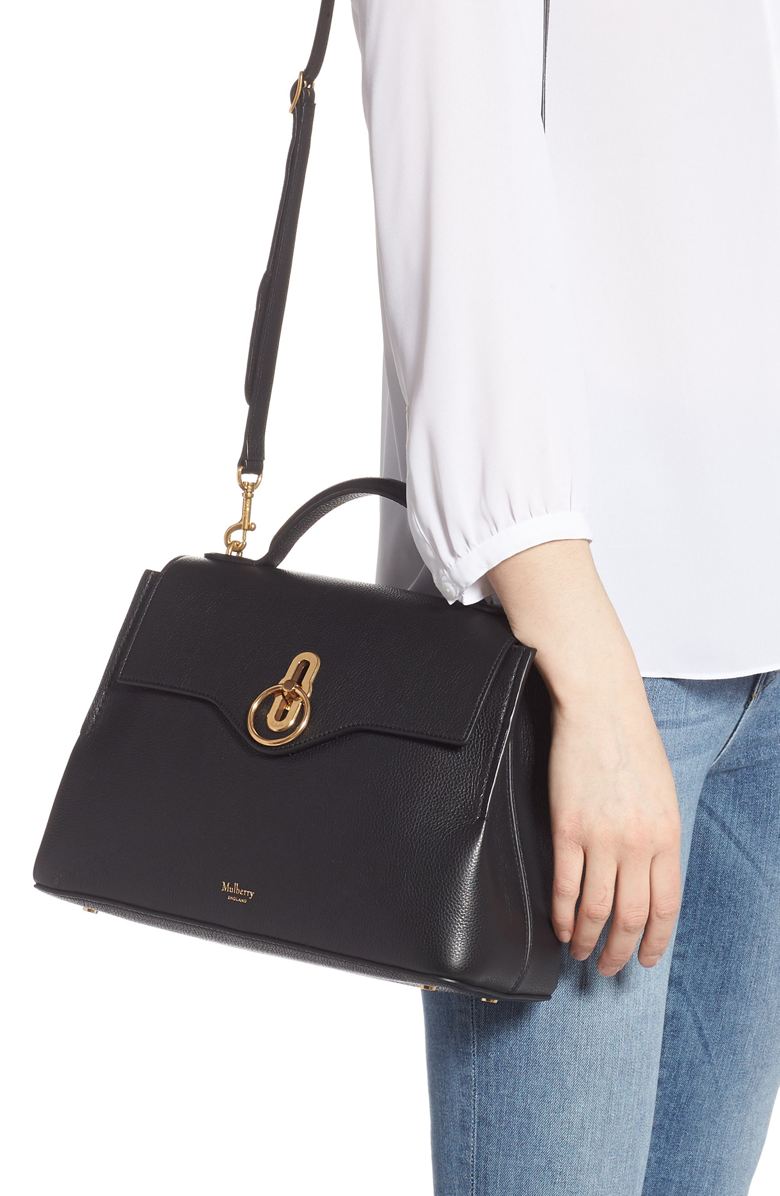 MULBERRY,                             Small Seaton Leather Top Handle Satchel,                             Alternate thumbnail 2, color,                             BLACK