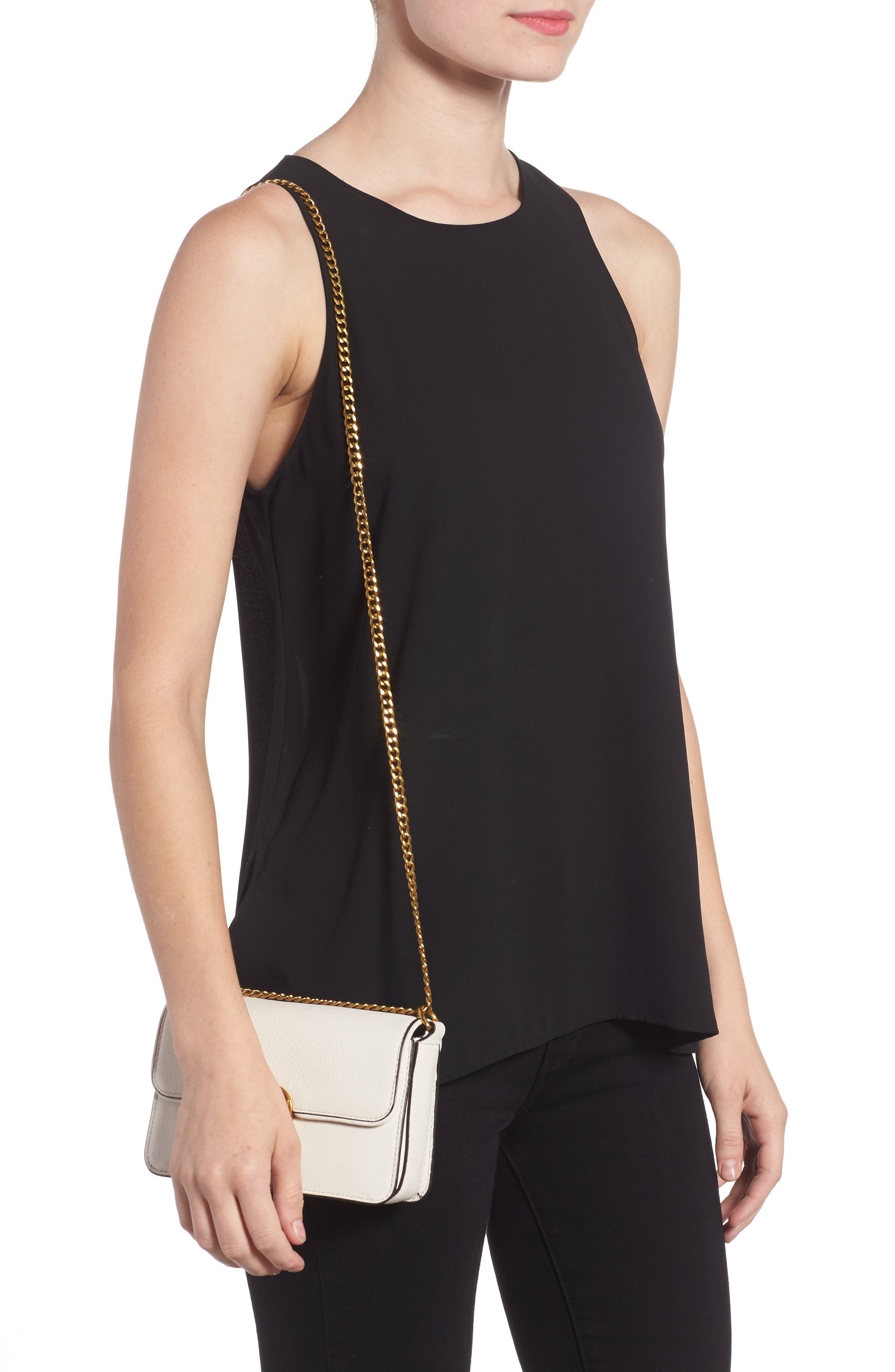 Mini Chelsea Leather Convertible Crossbody Bag,                             Alternate thumbnail 6, color,