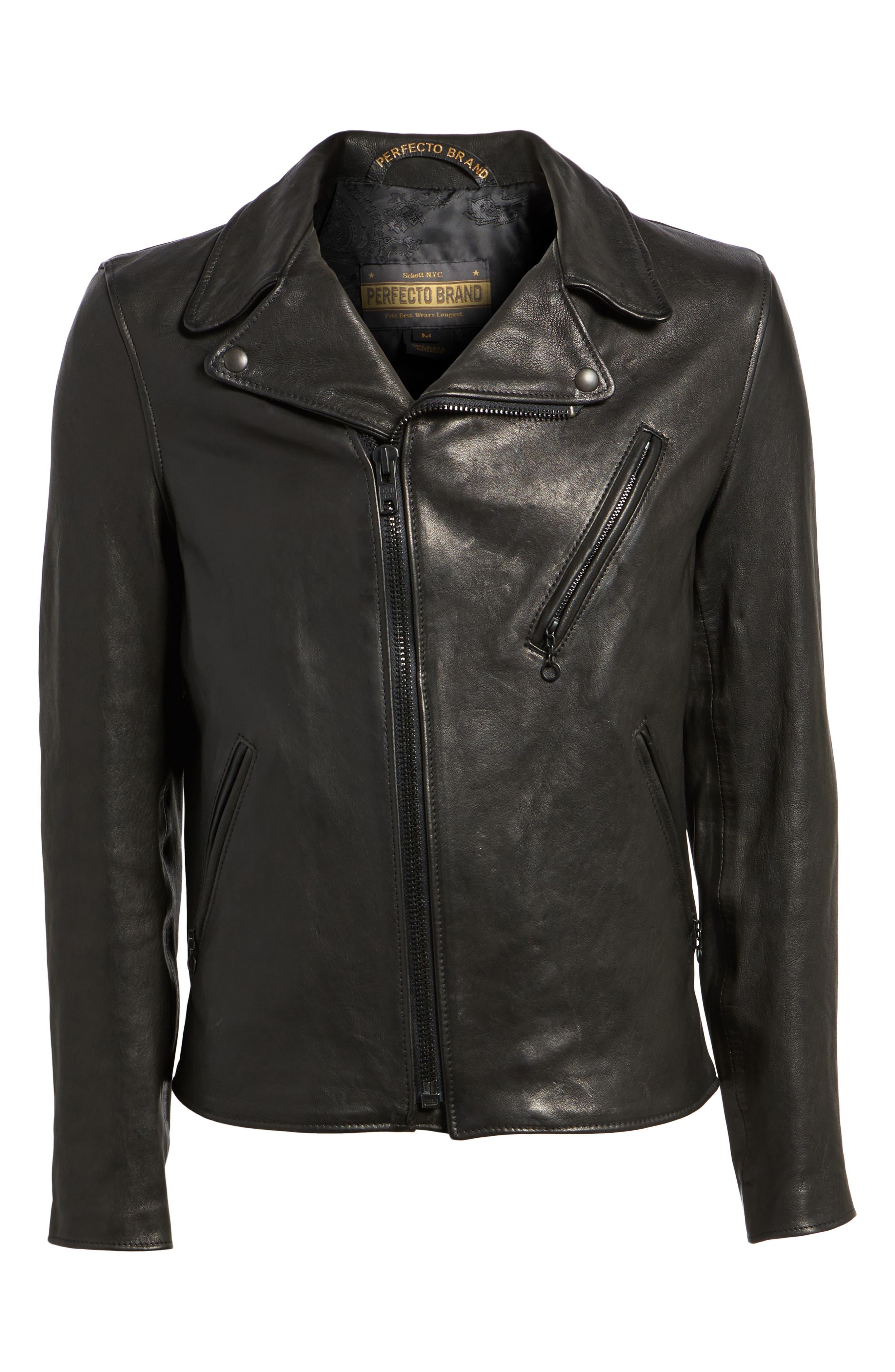 Leather Moto Jacket,                             Alternate thumbnail 5, color,                             BLACK