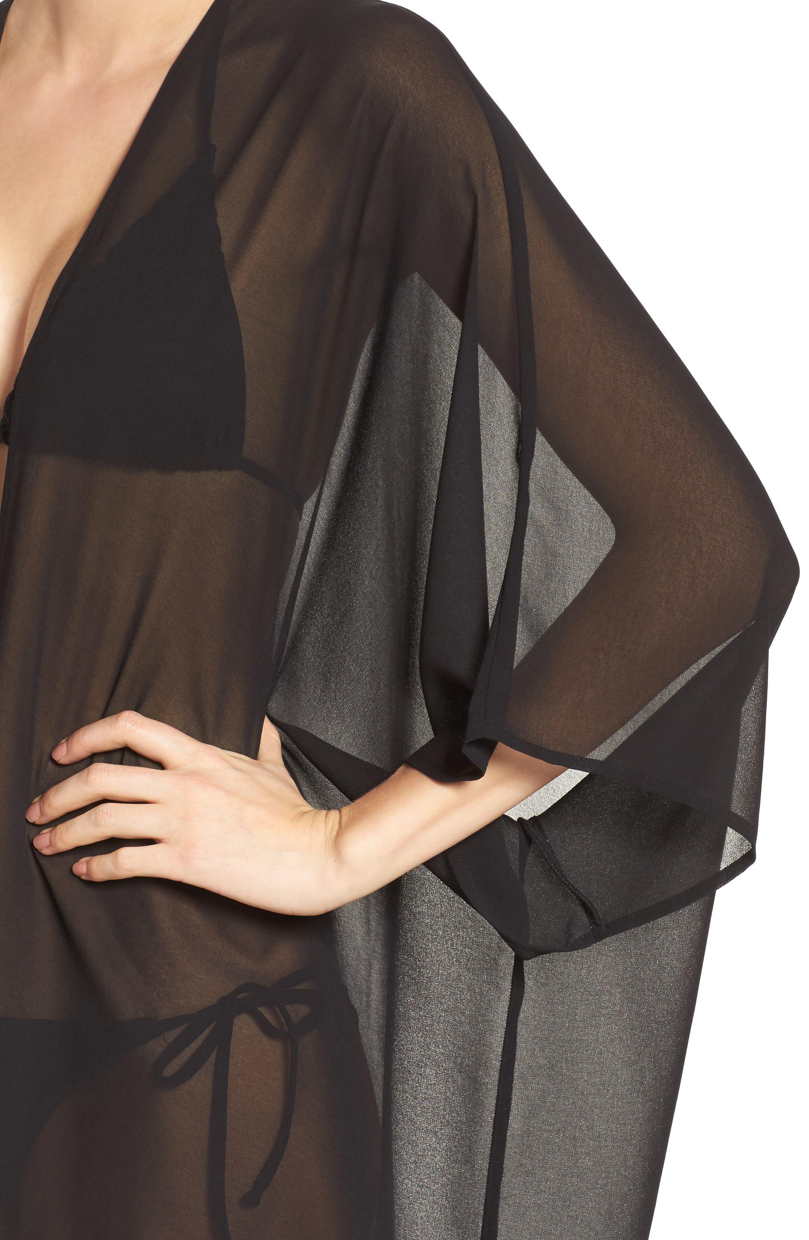 Chiffon Cover-Up Kimono,                             Alternate thumbnail 4, color,                             BLACK