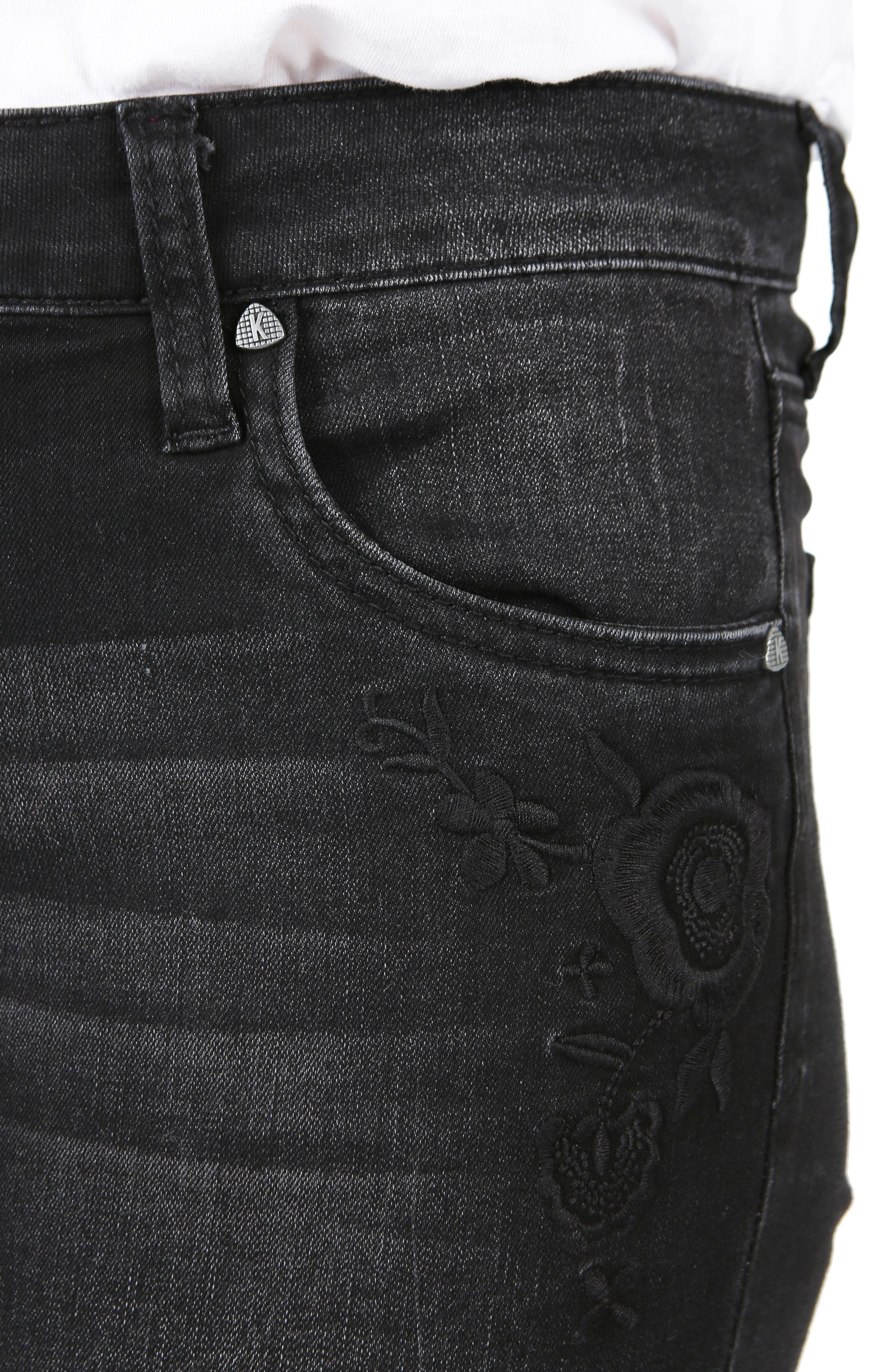 Mia Embroidered Skinny Jeans,                             Alternate thumbnail 4, color,                             030