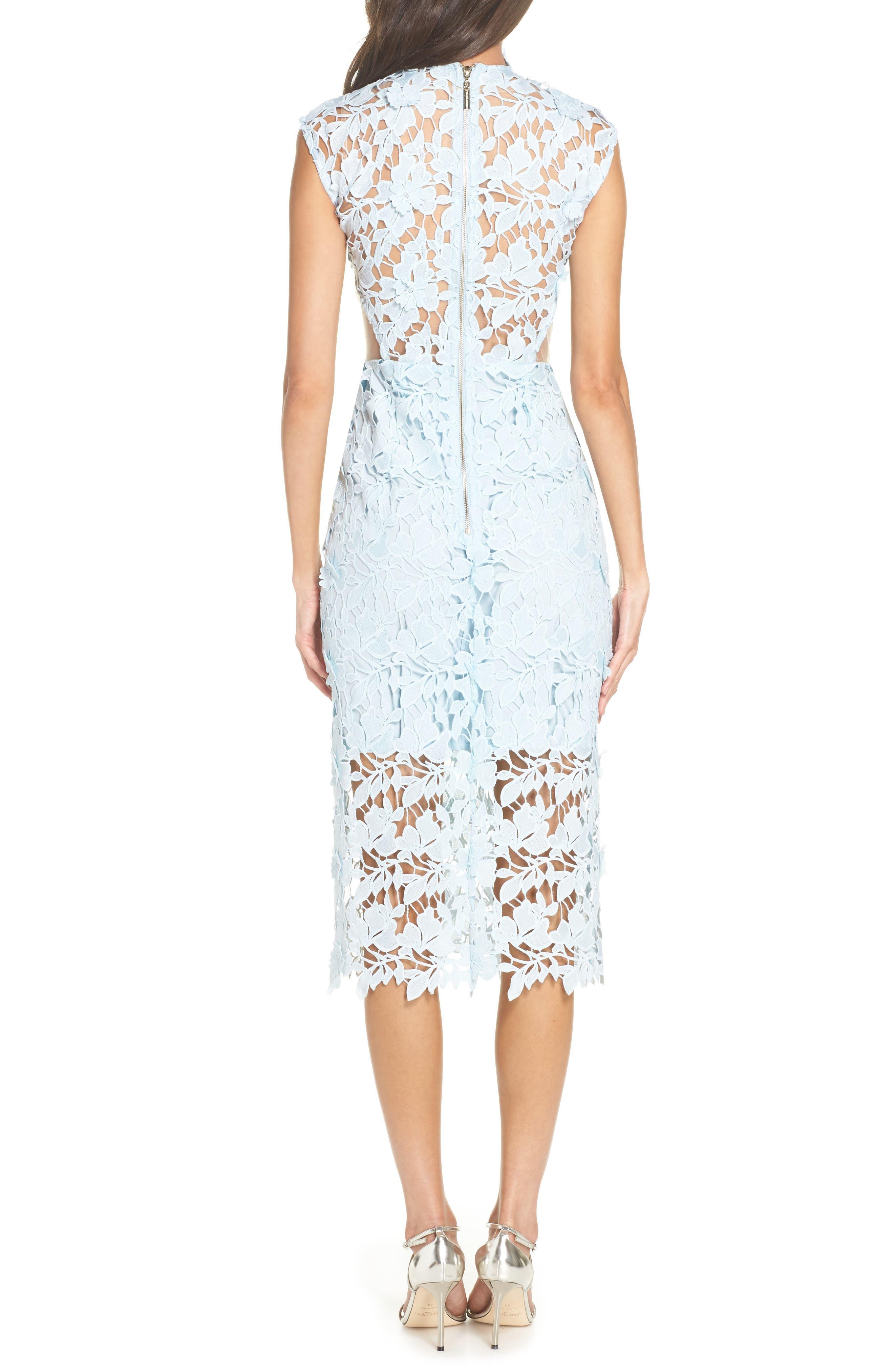 Lidia Lace Midi Dress,                             Alternate thumbnail 2, color,                             BLUE