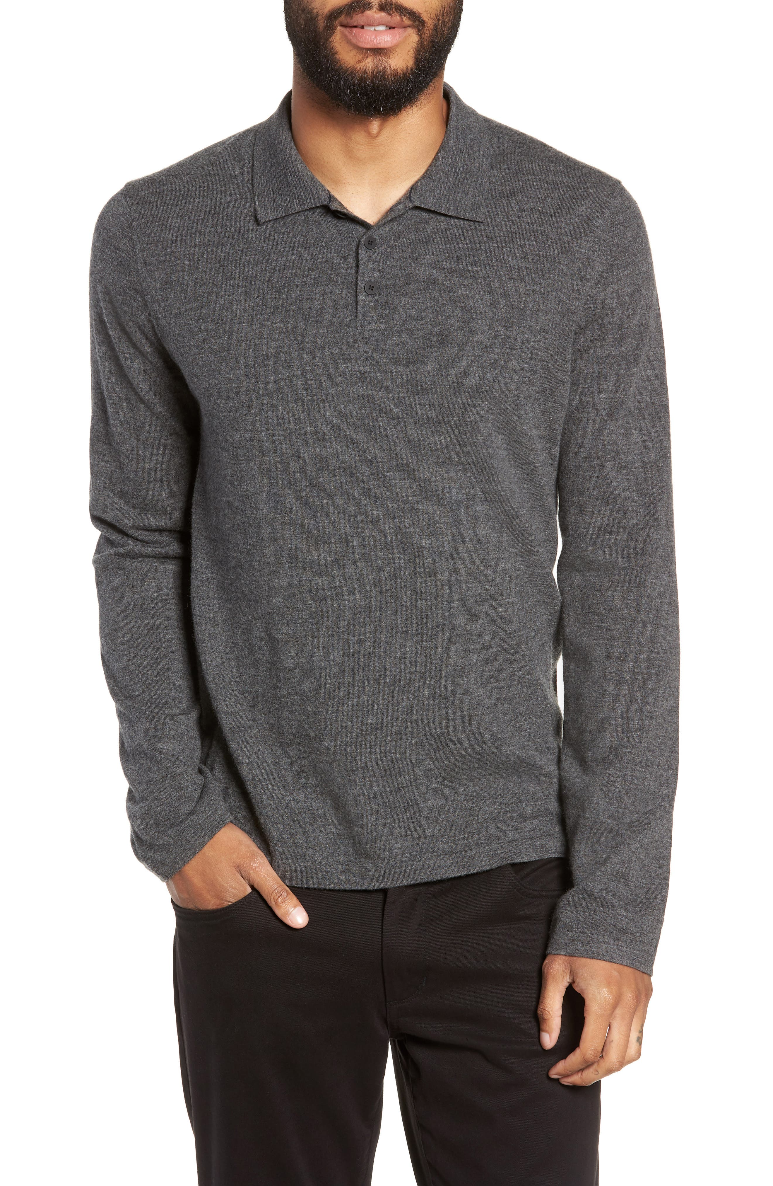 Regular Fit Long Sleeve Wool & Cashmere Polo,                             Main thumbnail 1, color,                             020