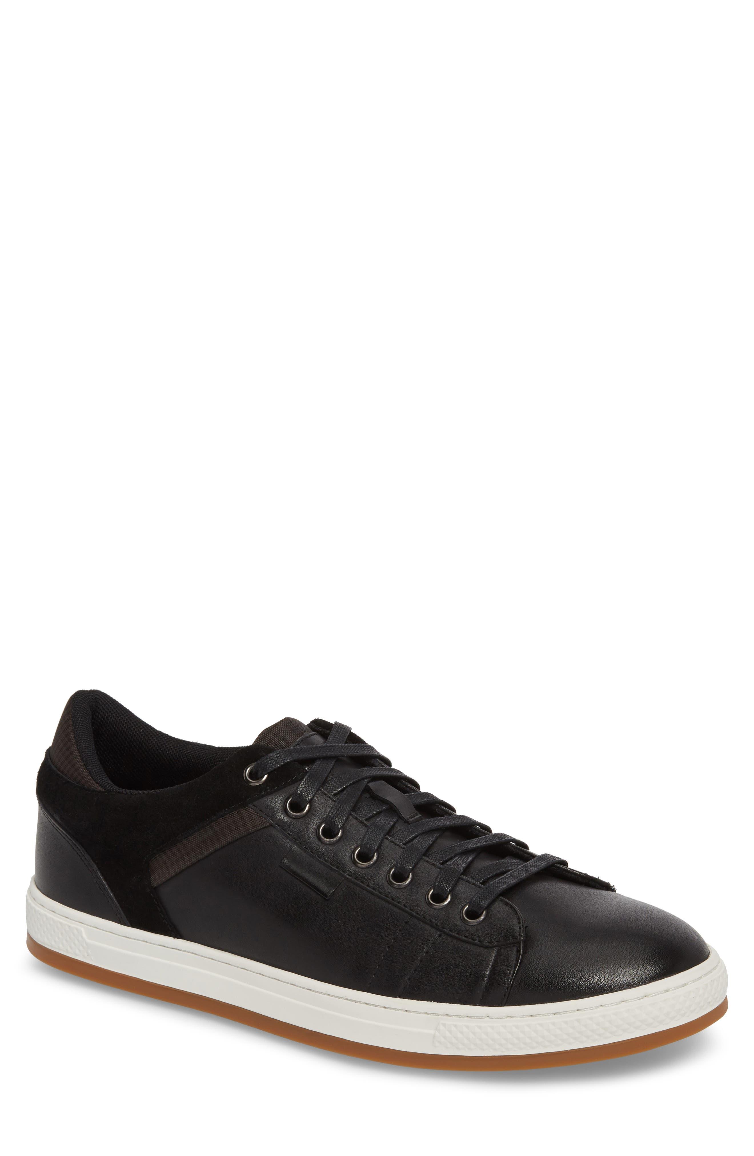 Ireton Low Top Sneaker,                         Main,                         color, BLACK LEATHER/ SUEDE