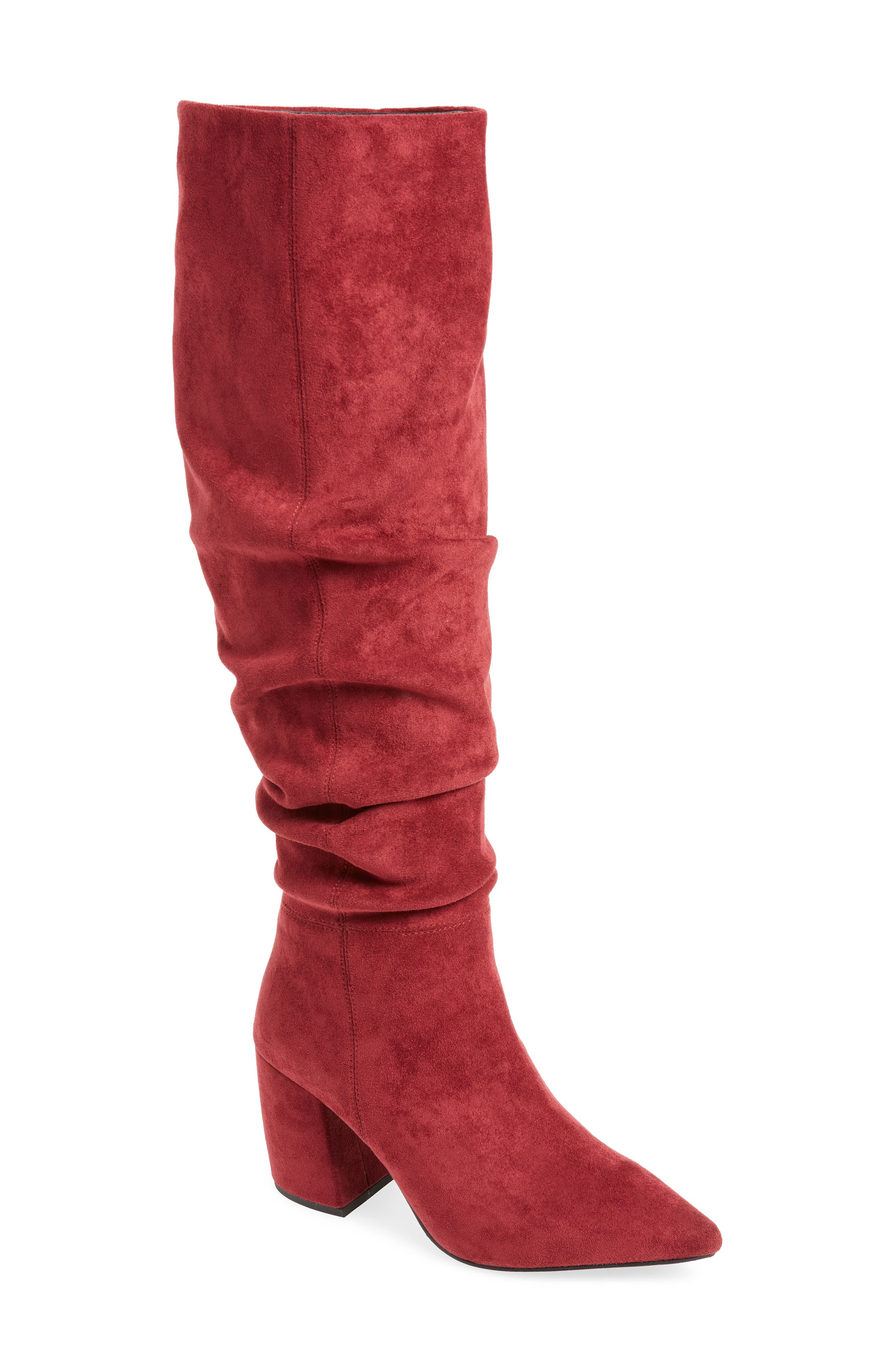 Final Slouch Over the Knee Boot,                             Main thumbnail 1, color,                             WINE SUEDE