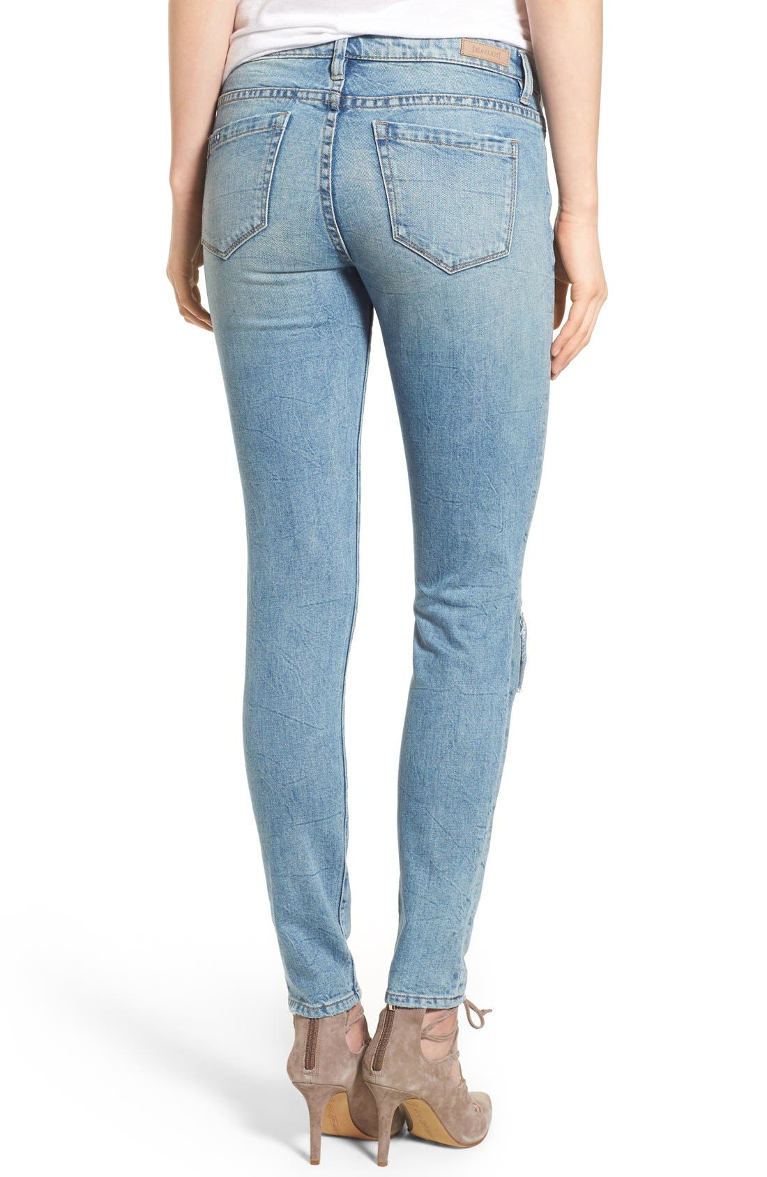 'Skinny Dipper' Distressed Skinny Jeans,                             Alternate thumbnail 3, color,                             400