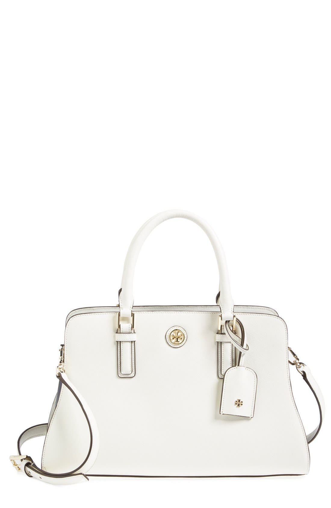 'Robinson - Curved' Leather Satchel,                         Main,                         color, 100