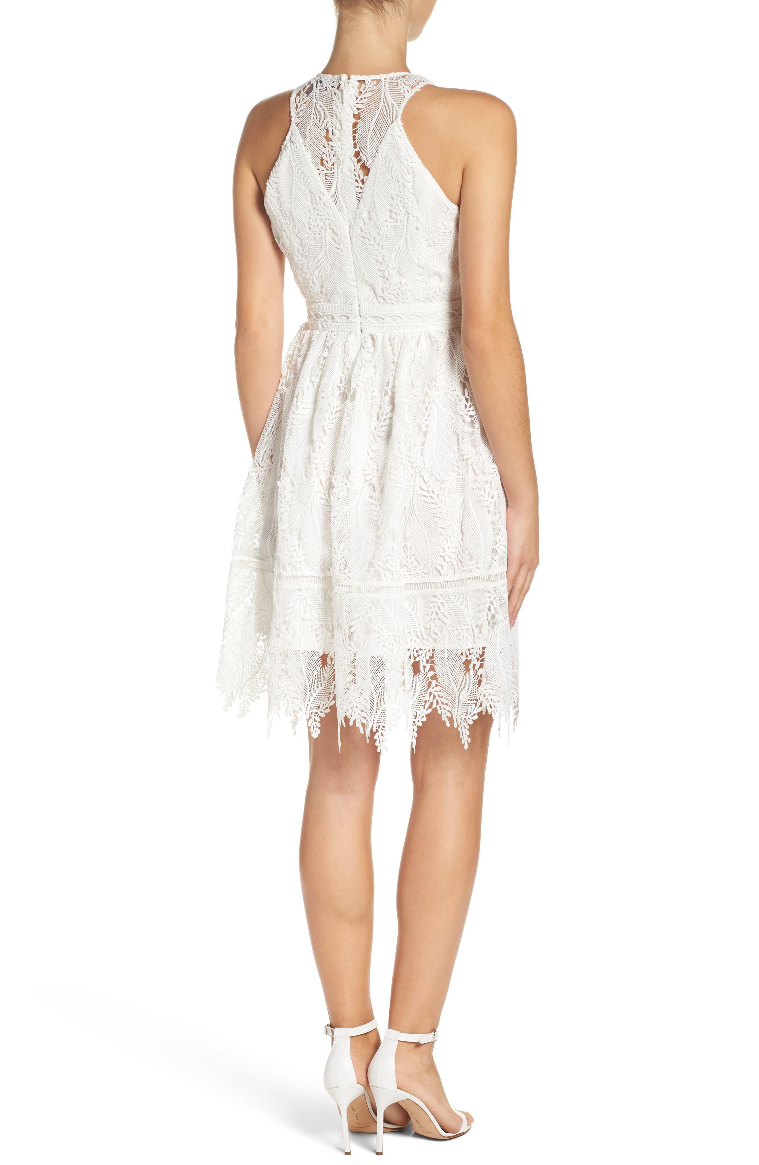 Lace Fit & Flare Dress,                             Alternate thumbnail 2, color,                             100