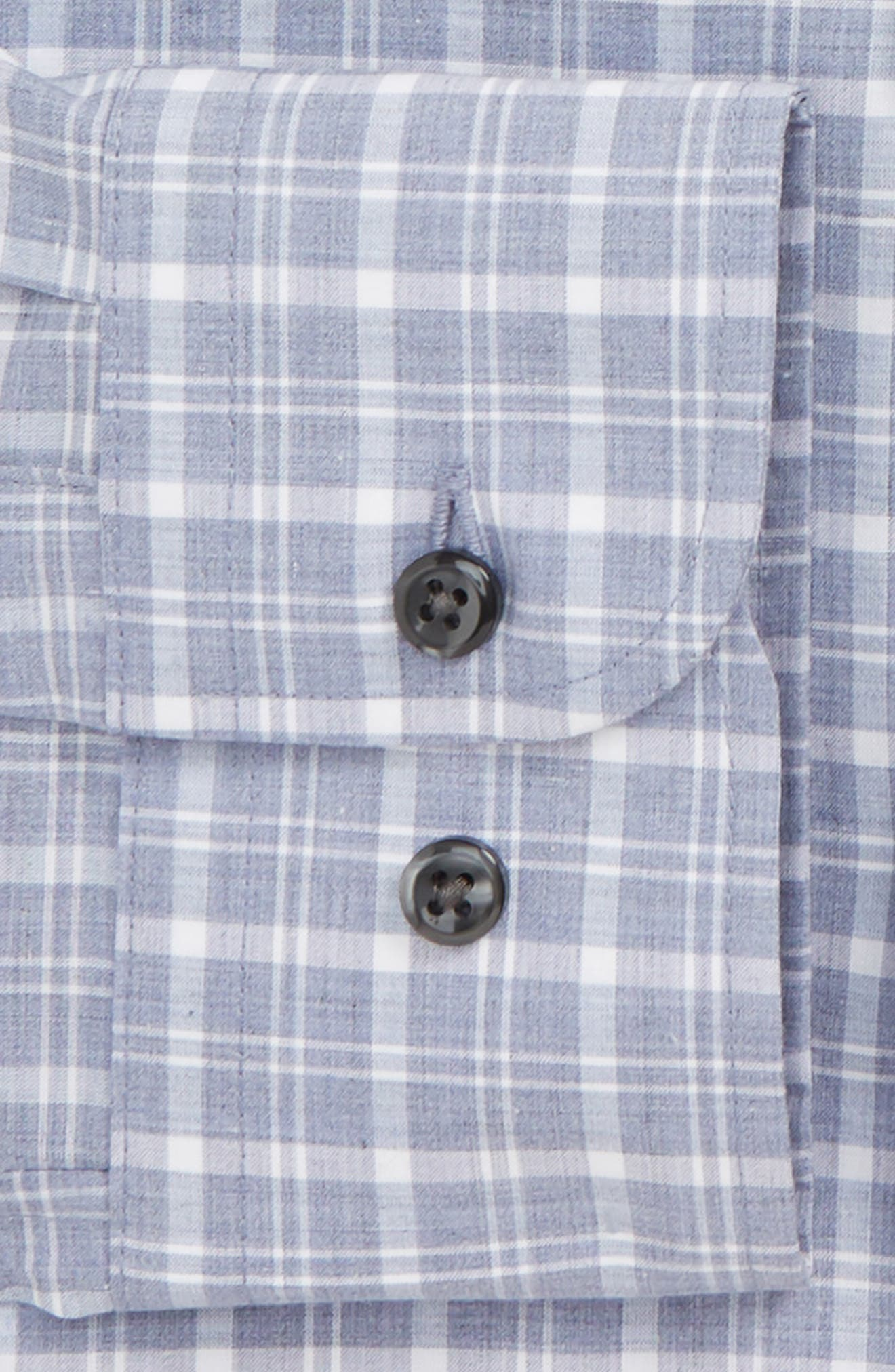 Trim Fit Non-Iron Plaid Dress Shirt,                             Alternate thumbnail 6, color,                             420