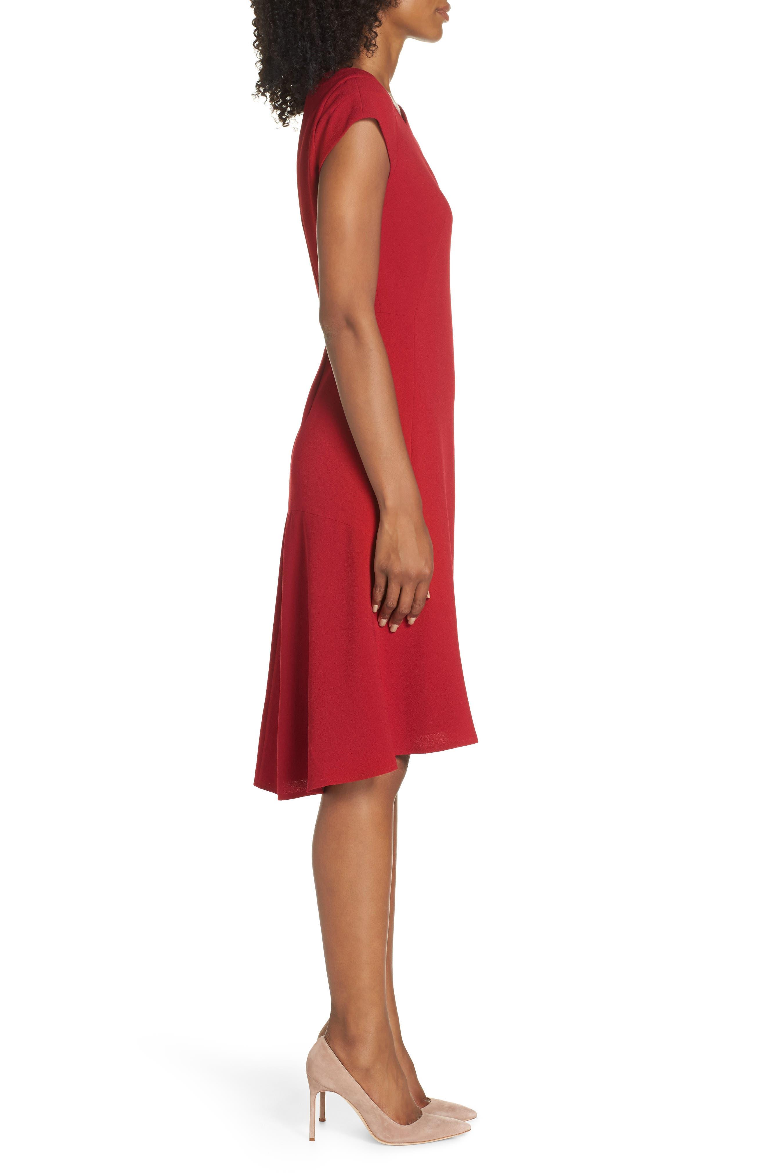 Asymmetrical Neck Fit & Flare Dress,                             Alternate thumbnail 3, color,                             GARNET
