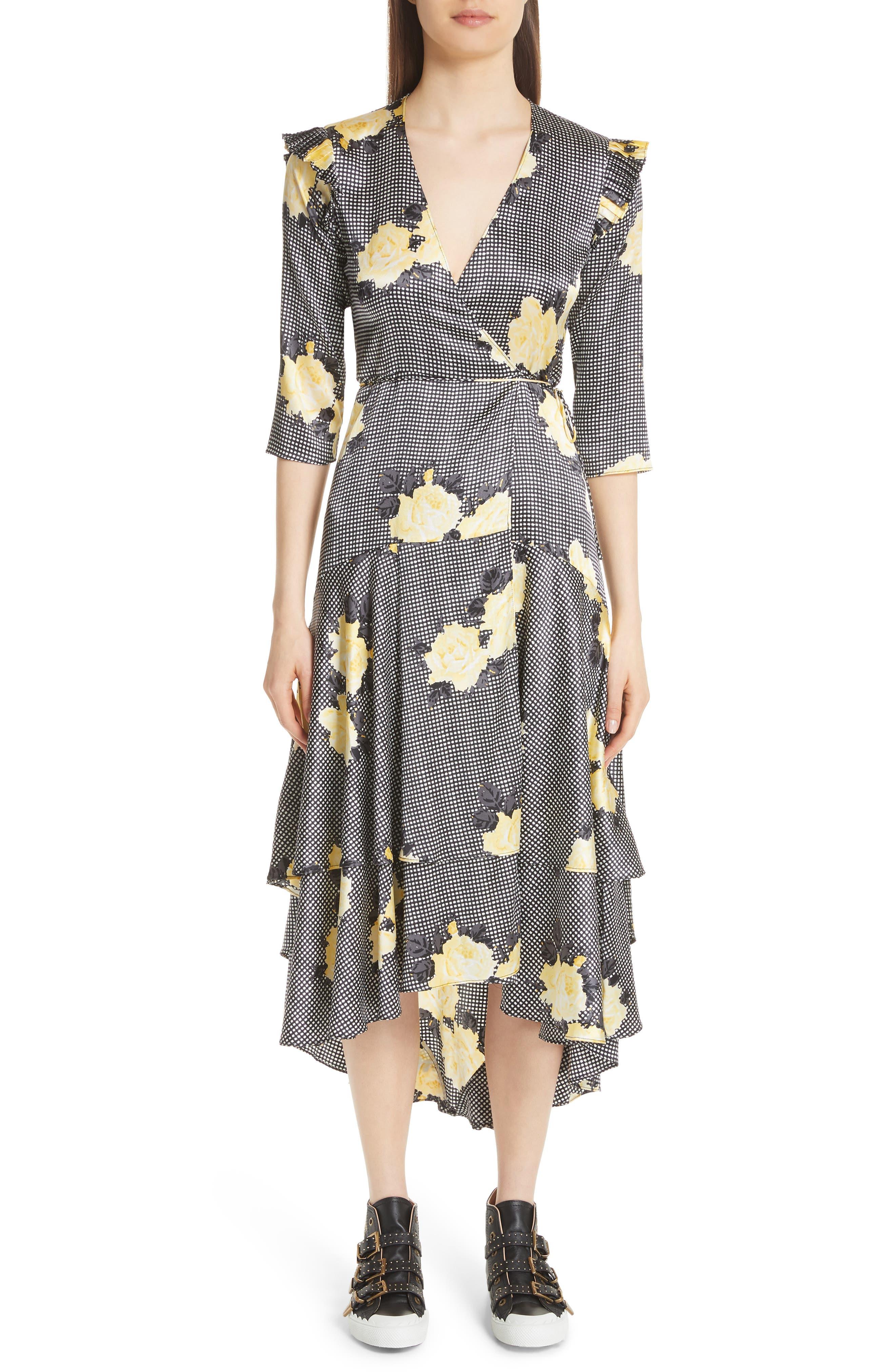 Calla Floral Silk Wrap Dress,                         Main,                         color, BLACK