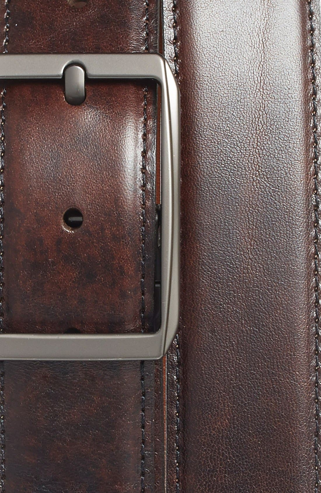 Reversible Leather Belt,                             Alternate thumbnail 3, color,                             DARK BROWN/ TAN