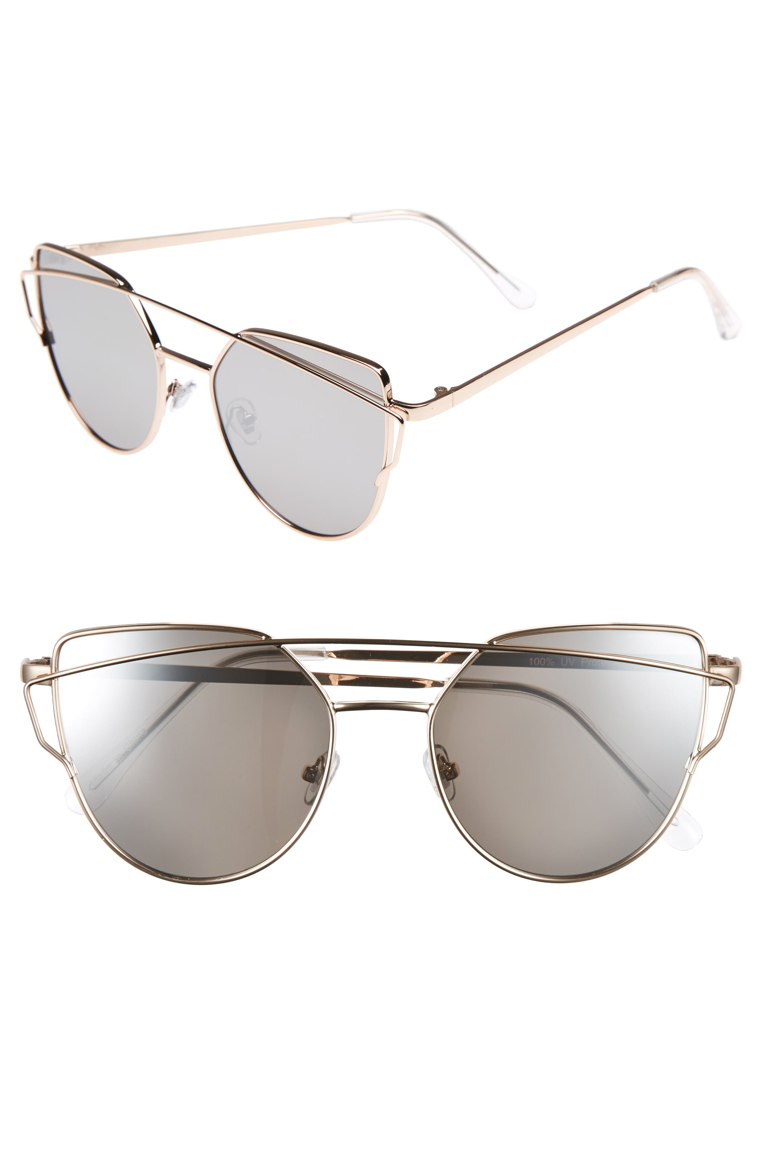 51mm Thin Brow Angular Aviator Sunglasses,                             Main thumbnail 4, color,