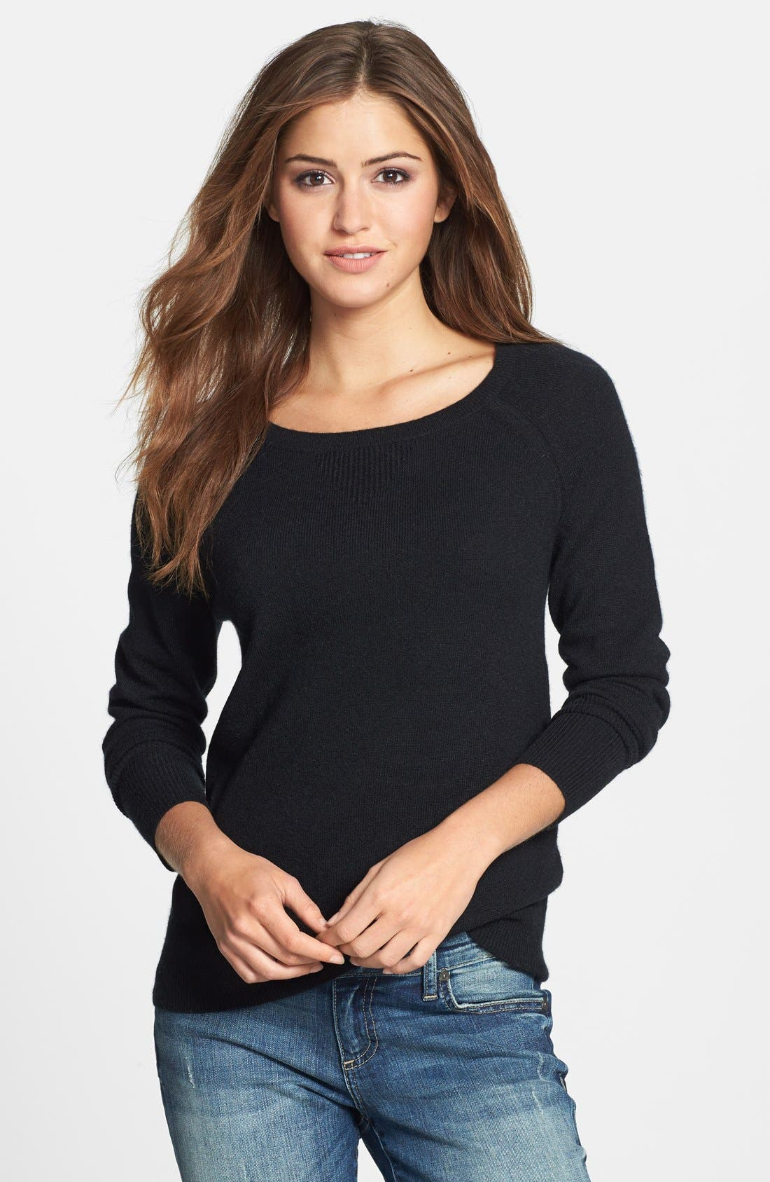 Solid Cashmere Sweater,                             Main thumbnail 1, color,                             001