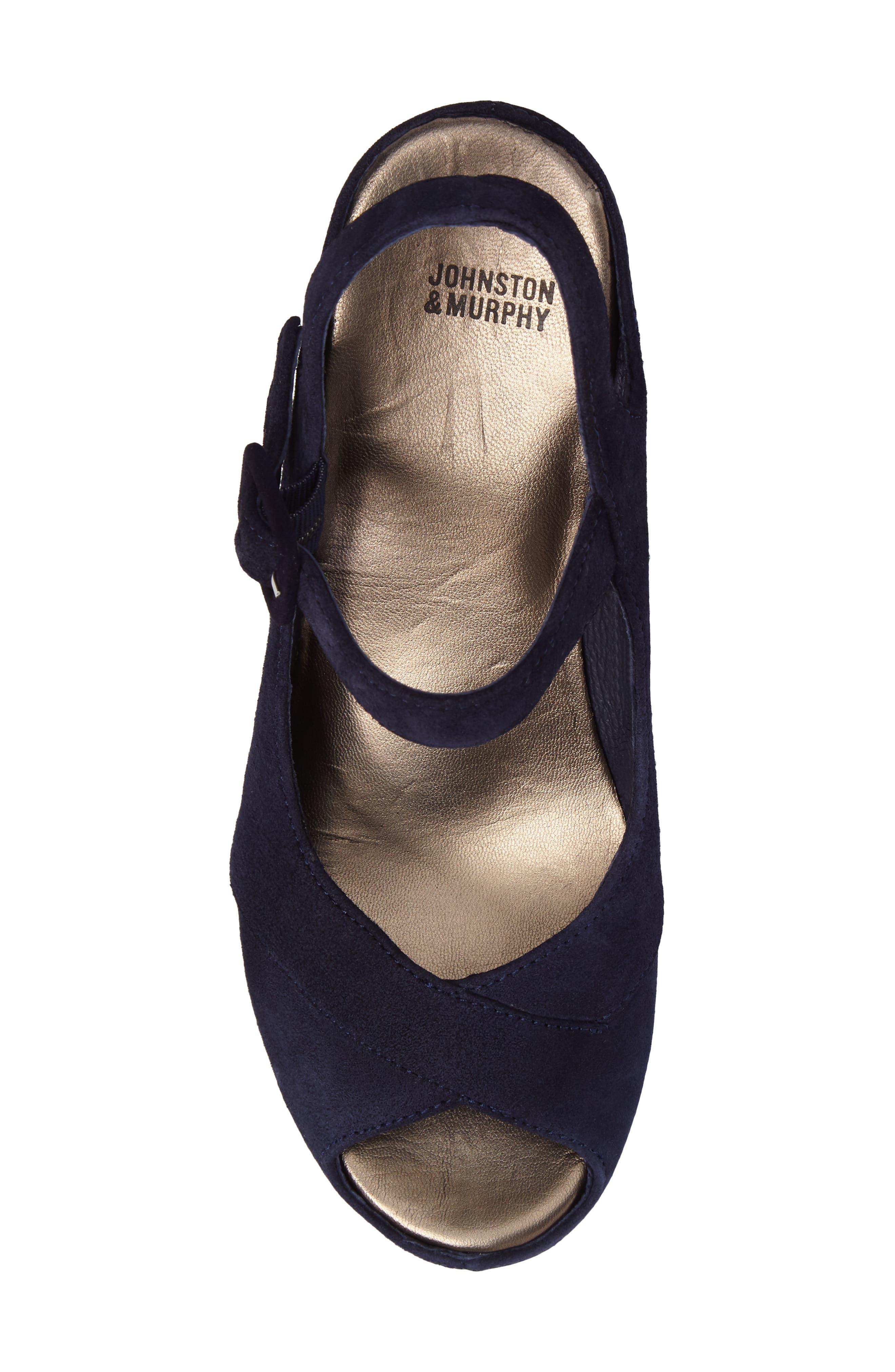 Tara Platform Wedge Sandal,                             Alternate thumbnail 5, color,                             NAVY SUEDE