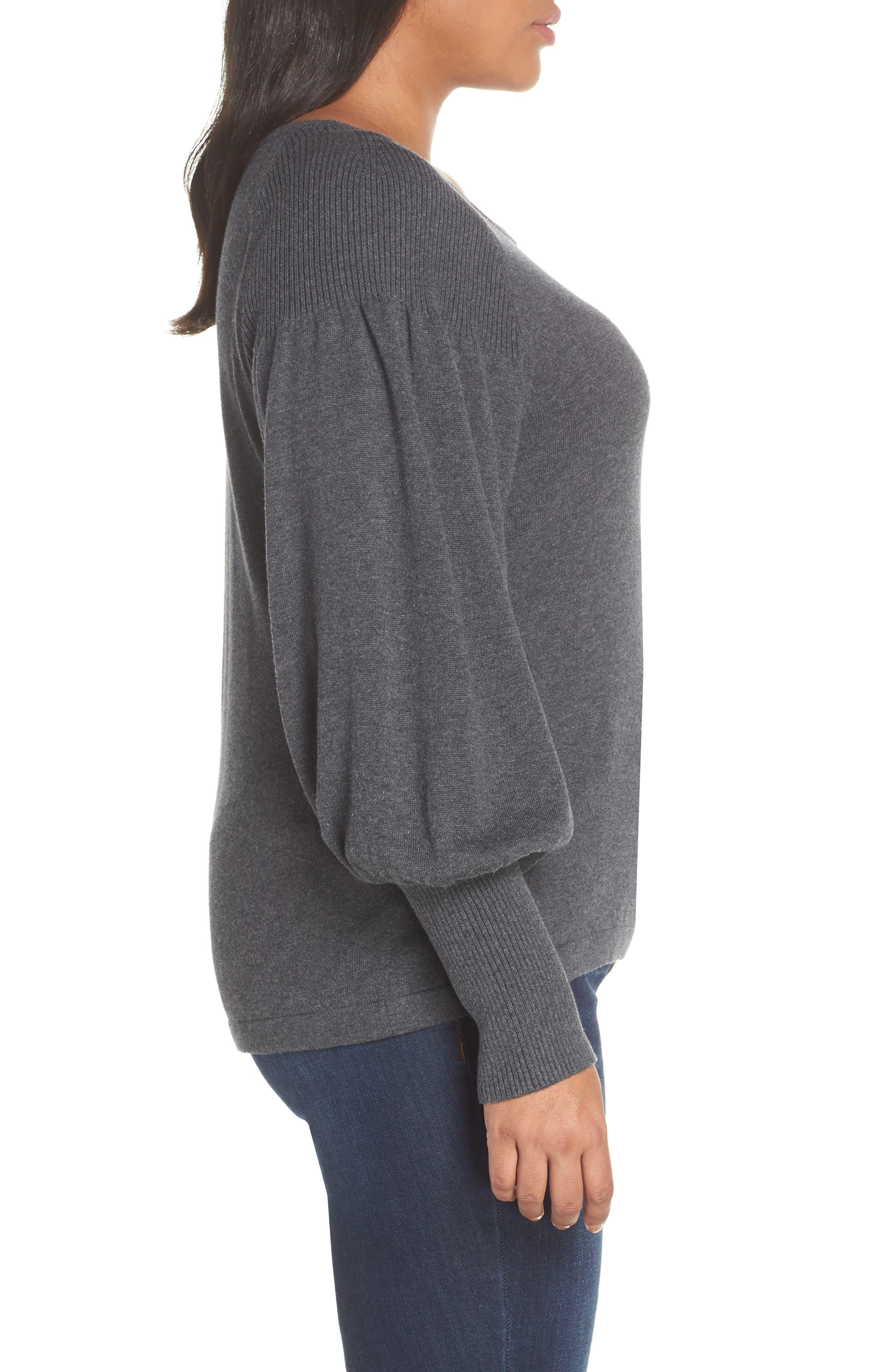 Blouson Sleeve Sweater,                             Alternate thumbnail 5, color,                             MED HEATHER GREY