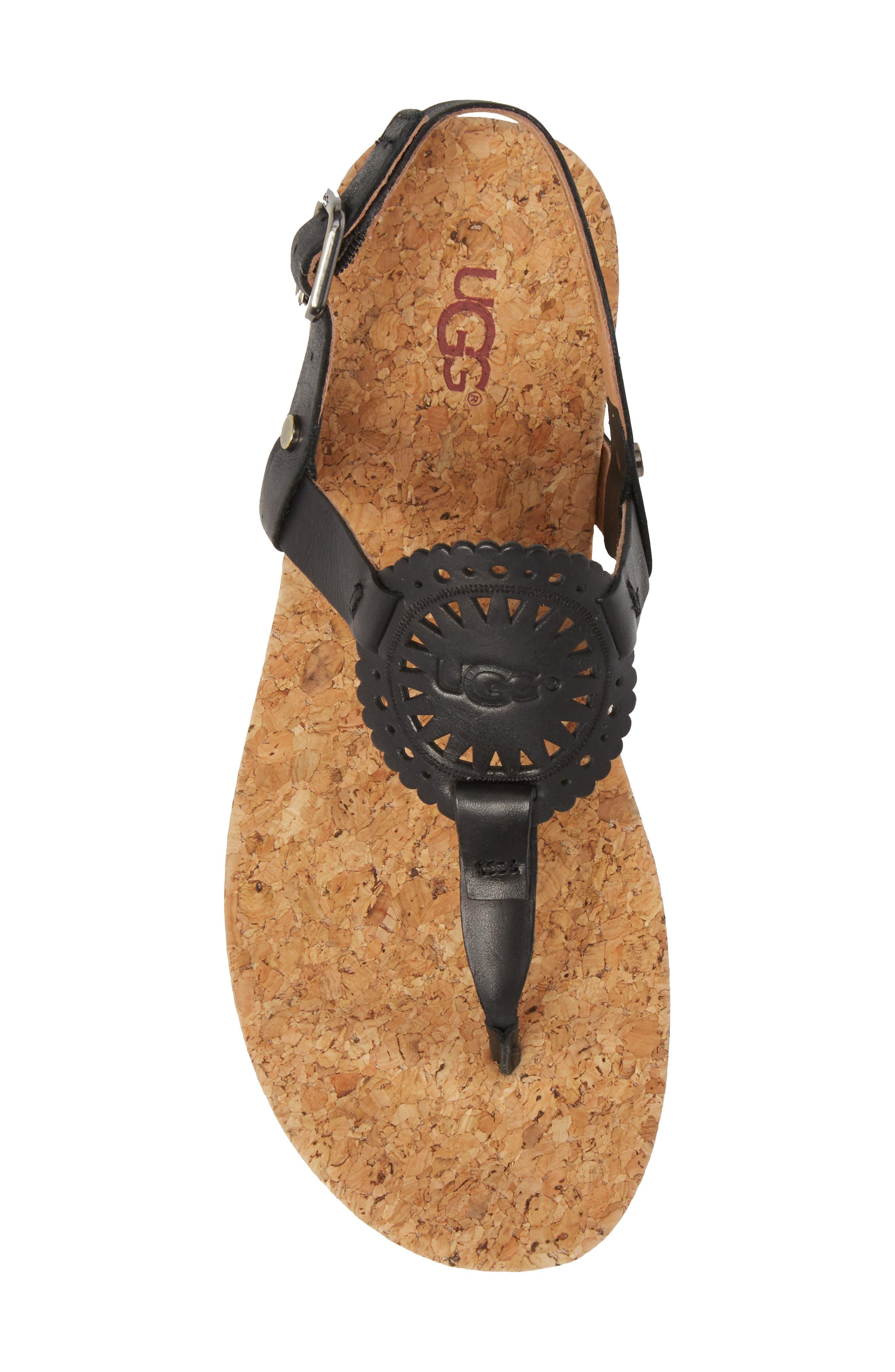 UGG<SUP>®</SUP>,                             Ayden II T-Strap Sandal,                             Alternate thumbnail 5, color,                             BLACK LEATHER