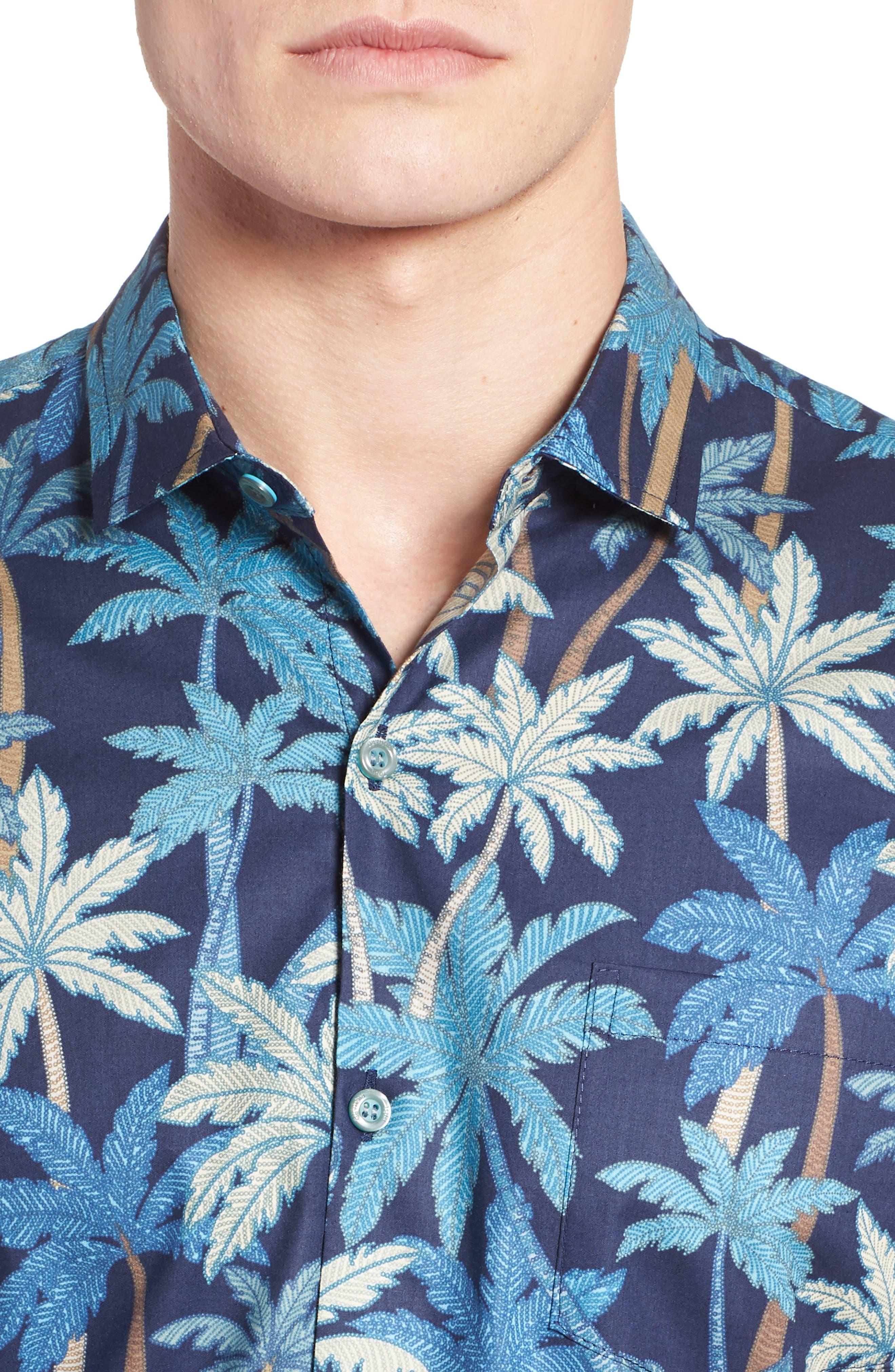 Pick a Palm Trim Fit Camp Shirt,                             Alternate thumbnail 4, color,                             NAVY