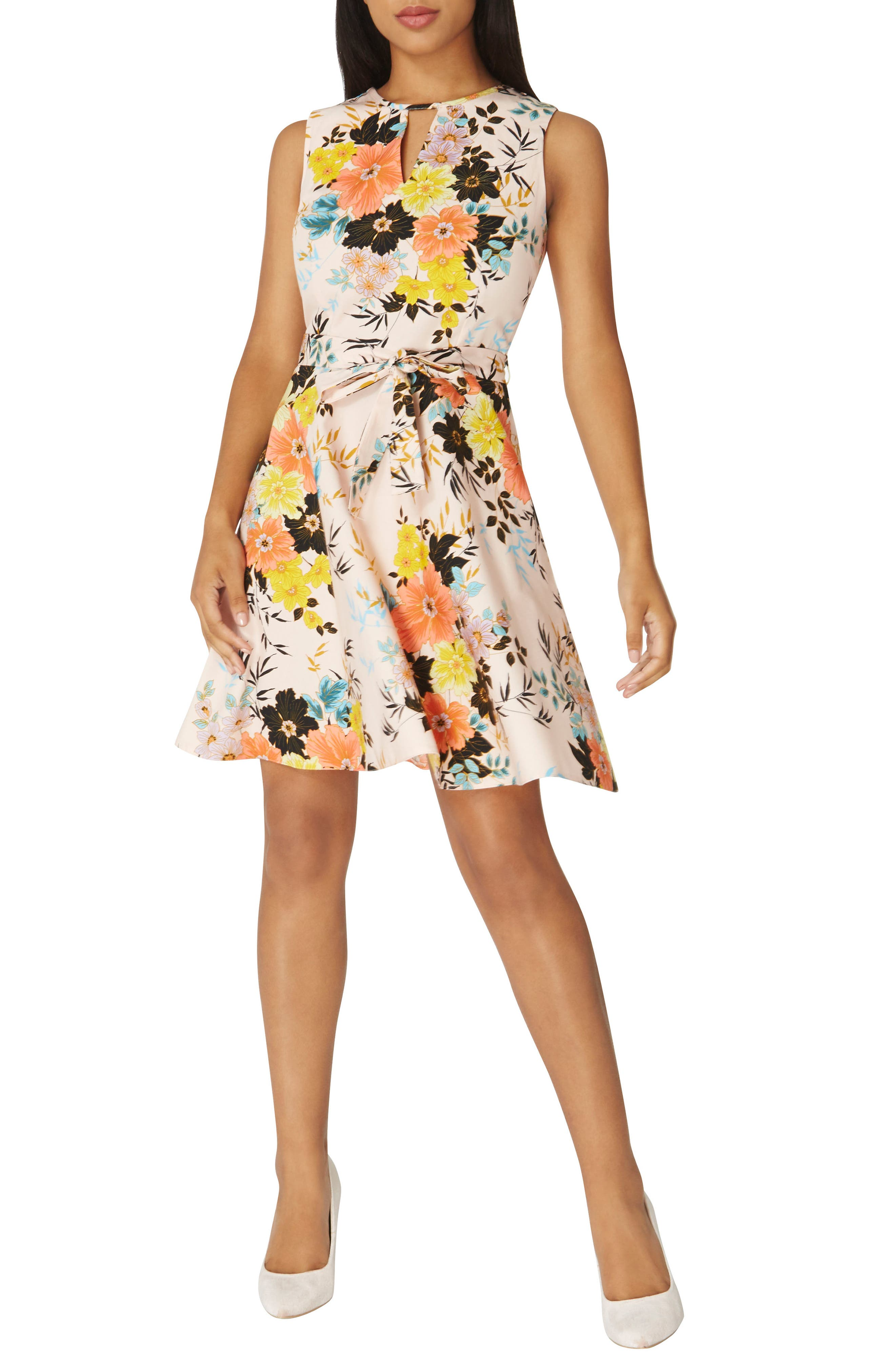 Floral Poplin Wrap Dress,                             Main thumbnail 1, color,