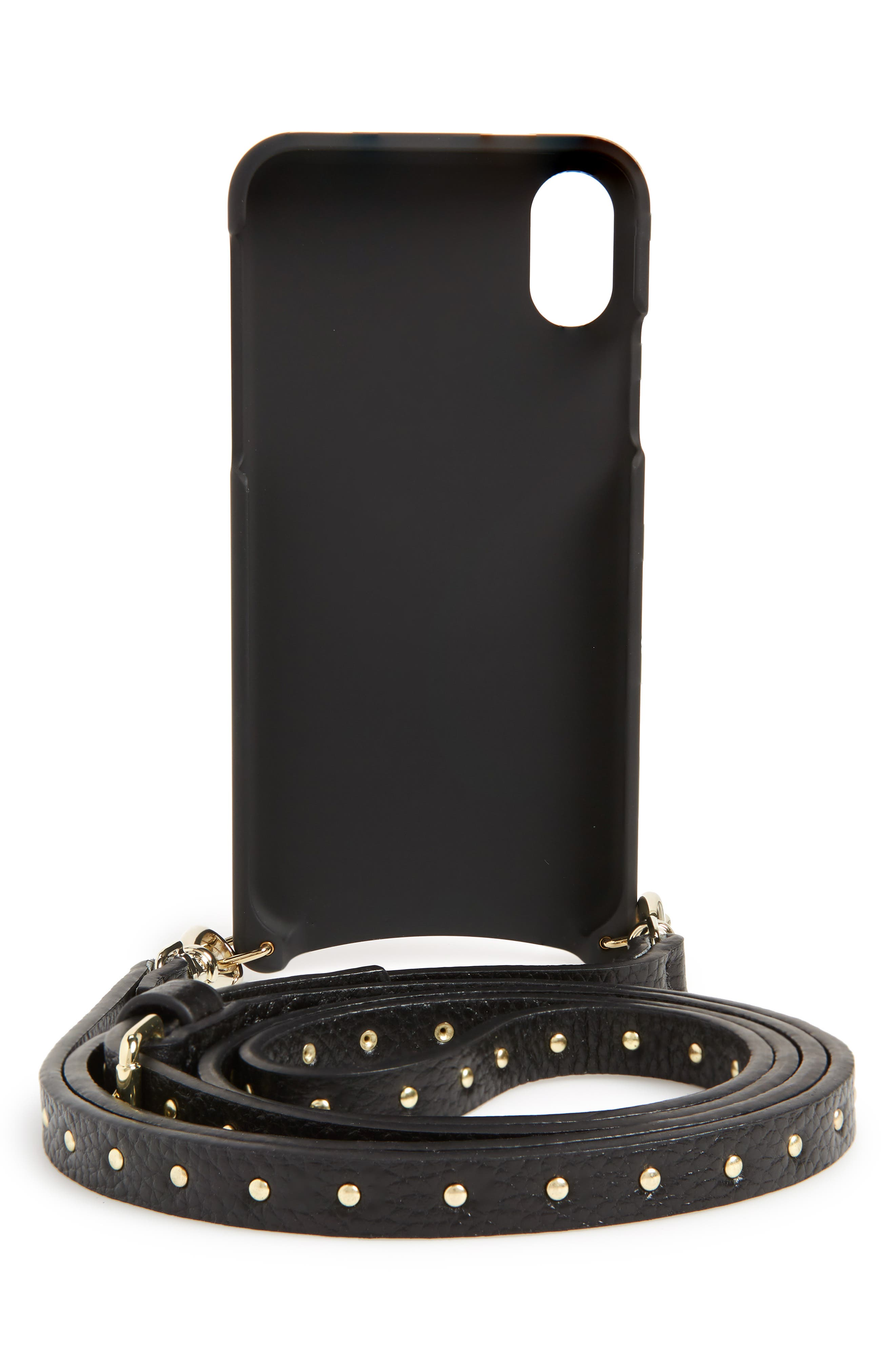 Nicole Pebbled Leather 6/7/8 & 6/7/8 Plus Crossbody Case,                             Alternate thumbnail 3, color,                             BLACK/ GOLD