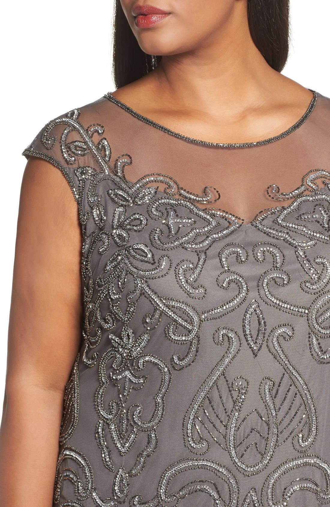 Illusion Neck Beaded A-Line Gown,                             Alternate thumbnail 21, color,