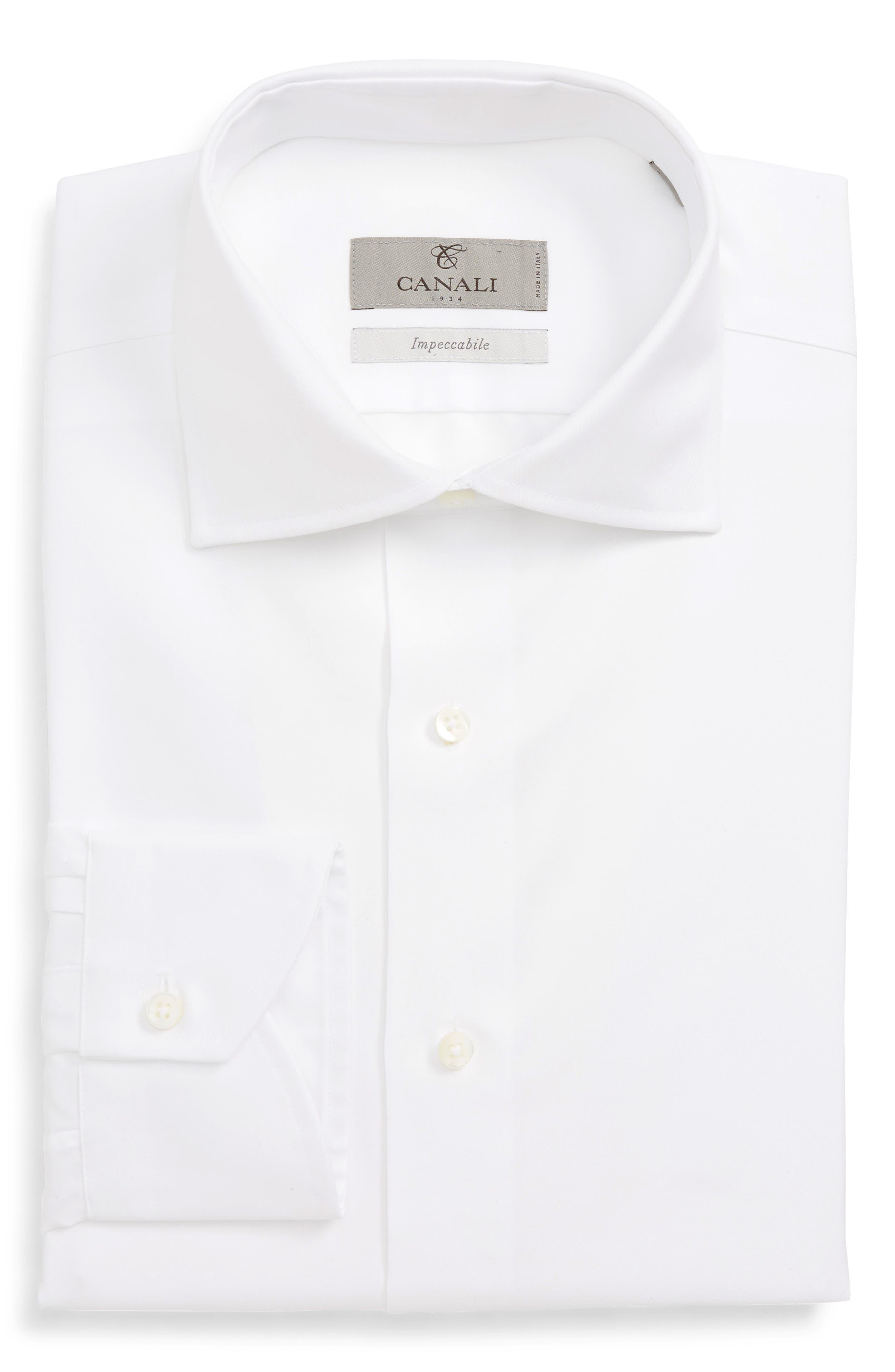 Regular Fit Solid Dress Shirt,                             Alternate thumbnail 6, color,                             WHITE