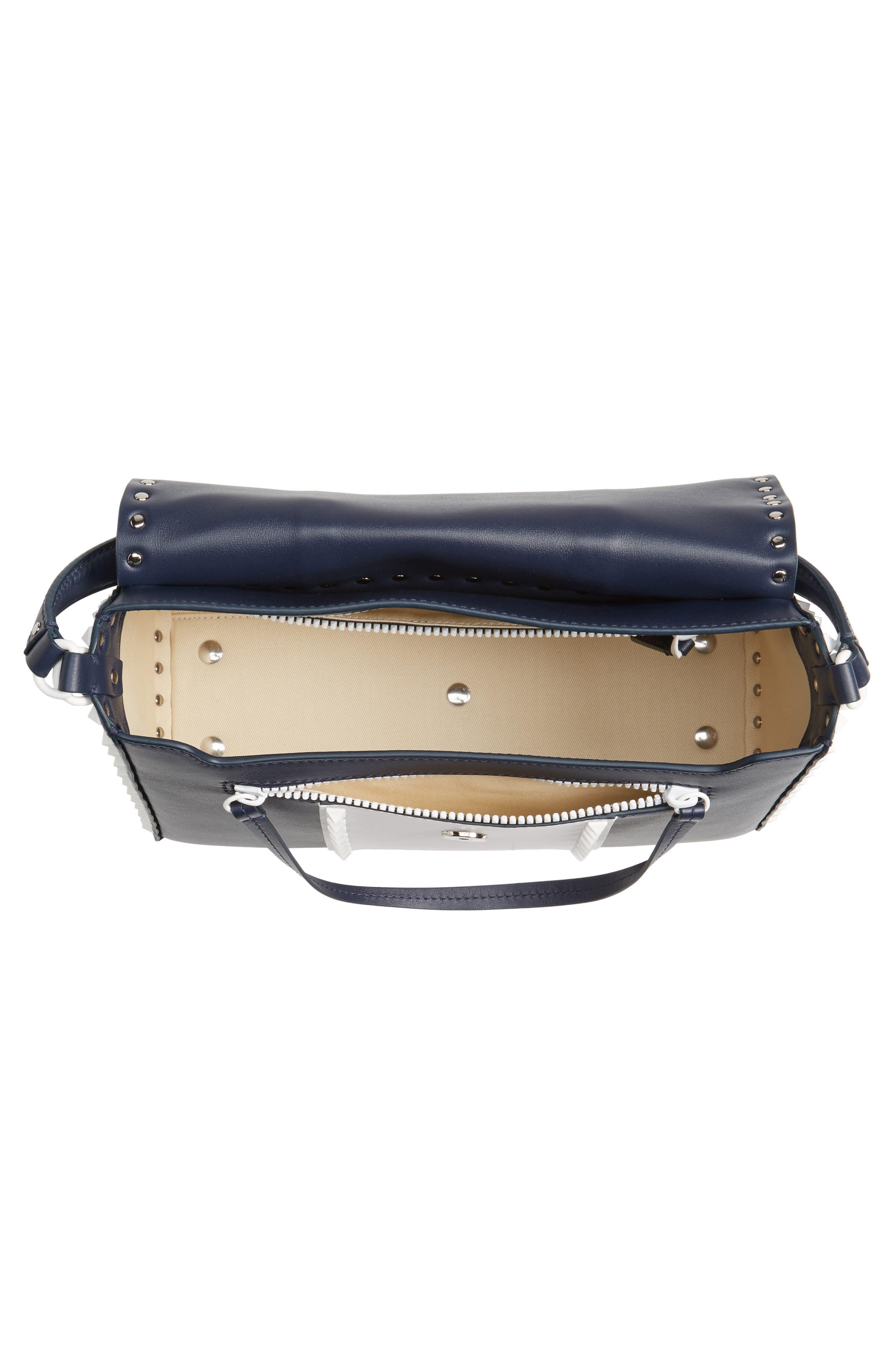 Rockstud Calfskin Top Handle Bag,                             Alternate thumbnail 4, color,                             400