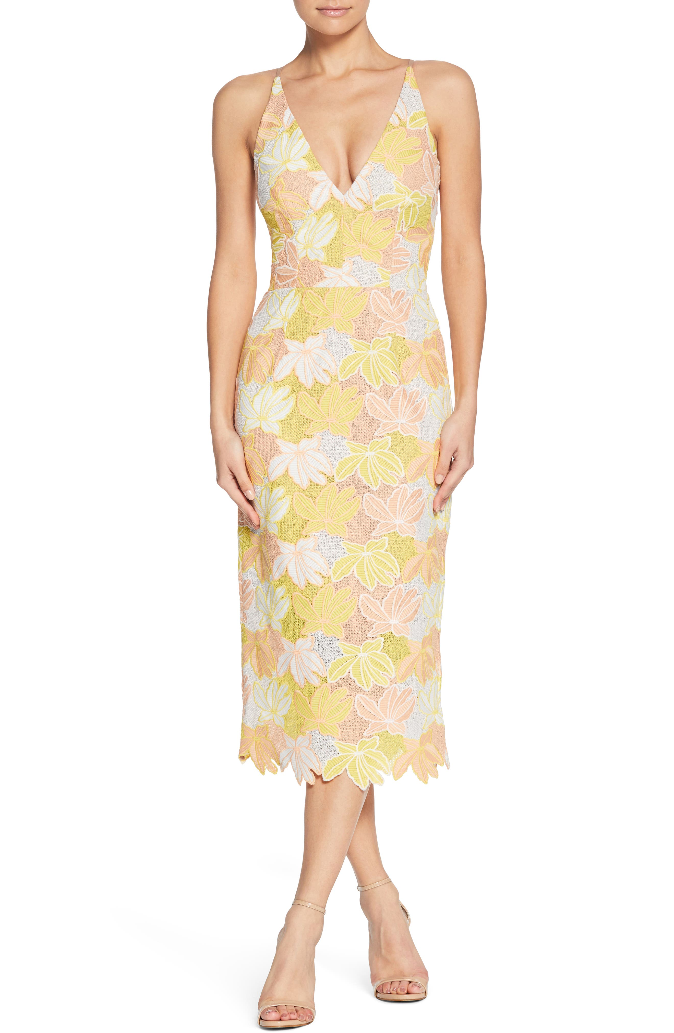 Aurora Lace Midi Dress,                             Main thumbnail 1, color,                             745
