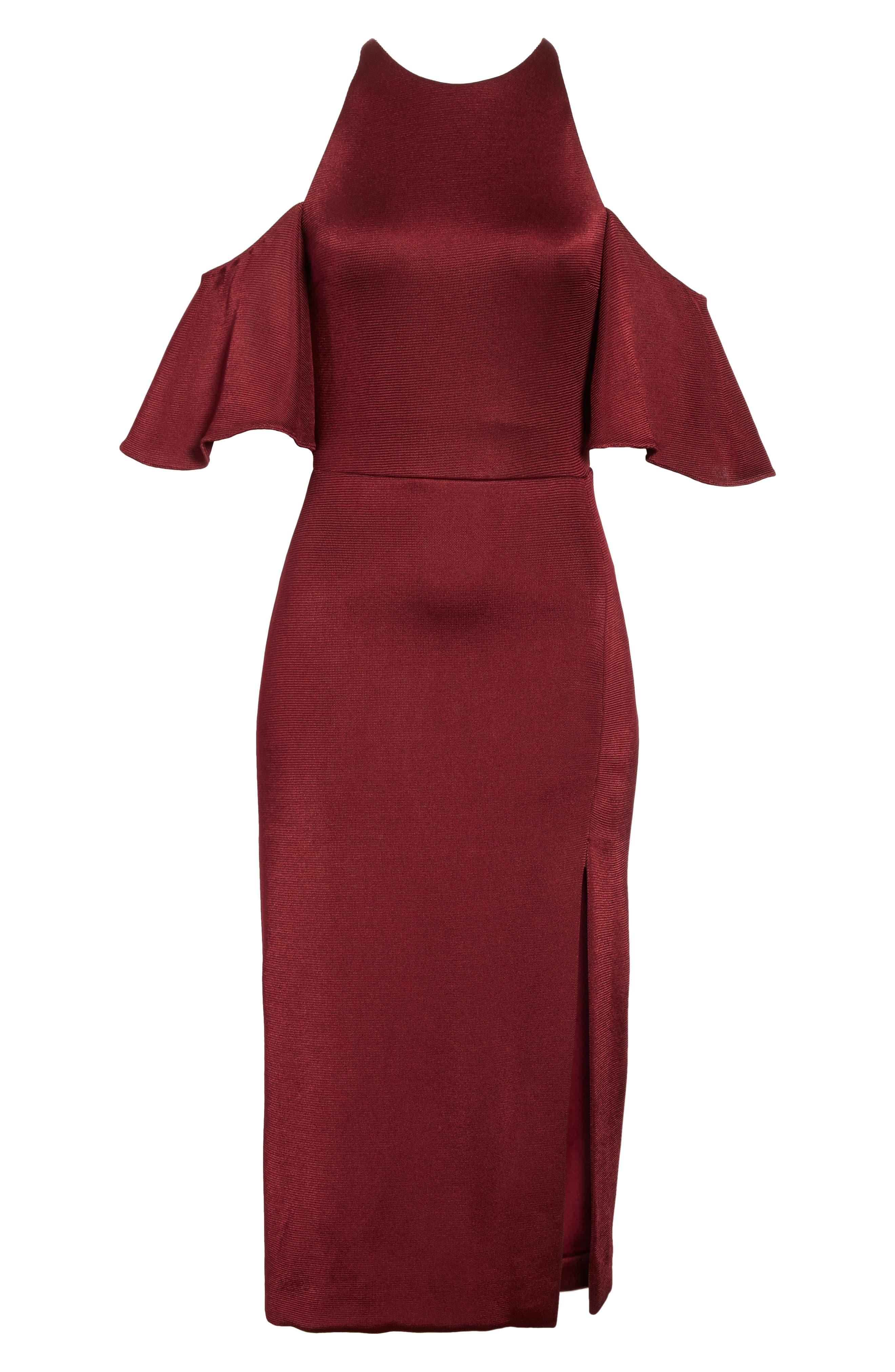 Flutter Sleeve Cold Shoulder Pencil Dress,                             Alternate thumbnail 6, color,                             932