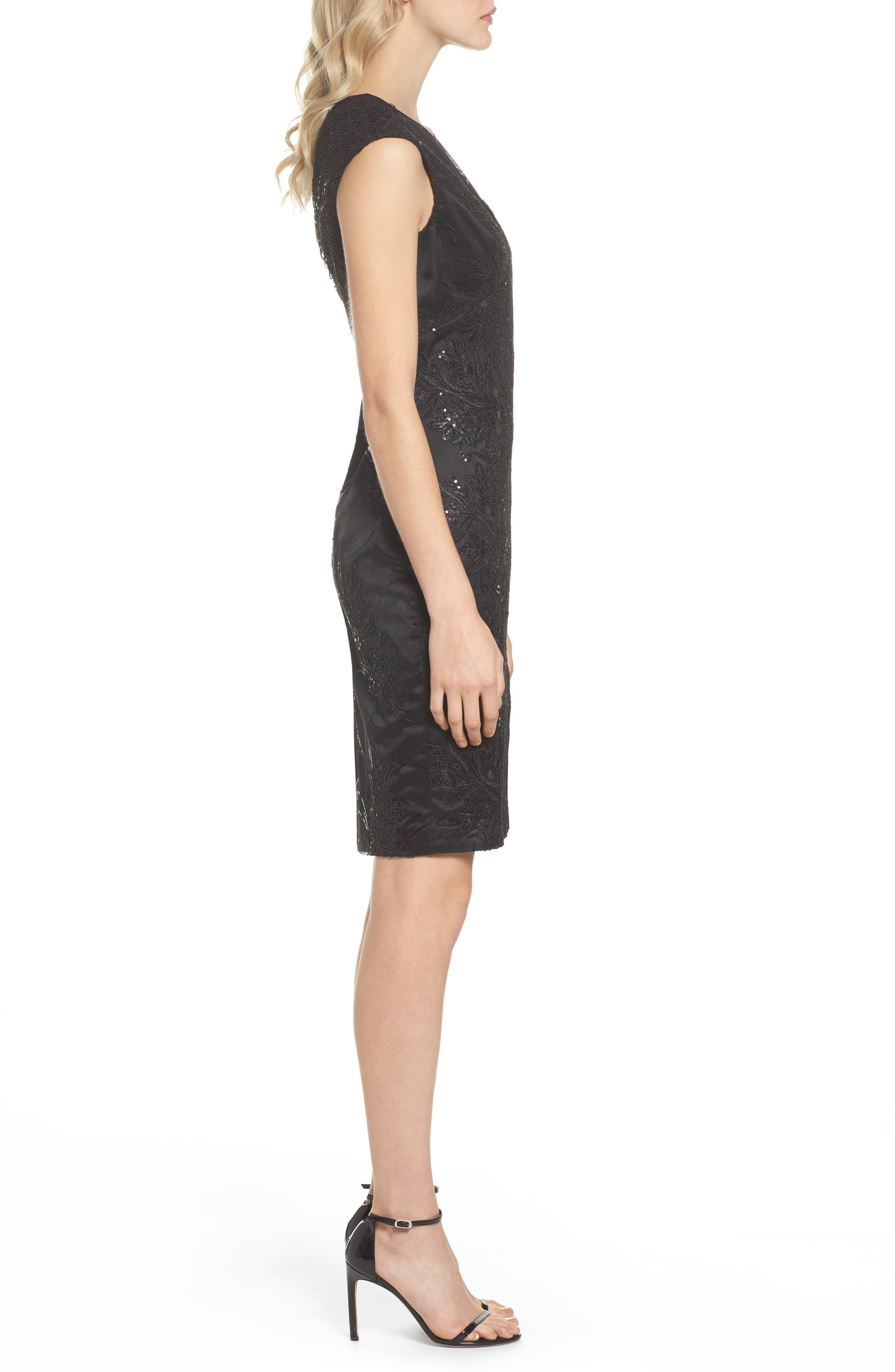 Illusion Neck Lace Sheath Dress,                             Alternate thumbnail 3, color,                             001
