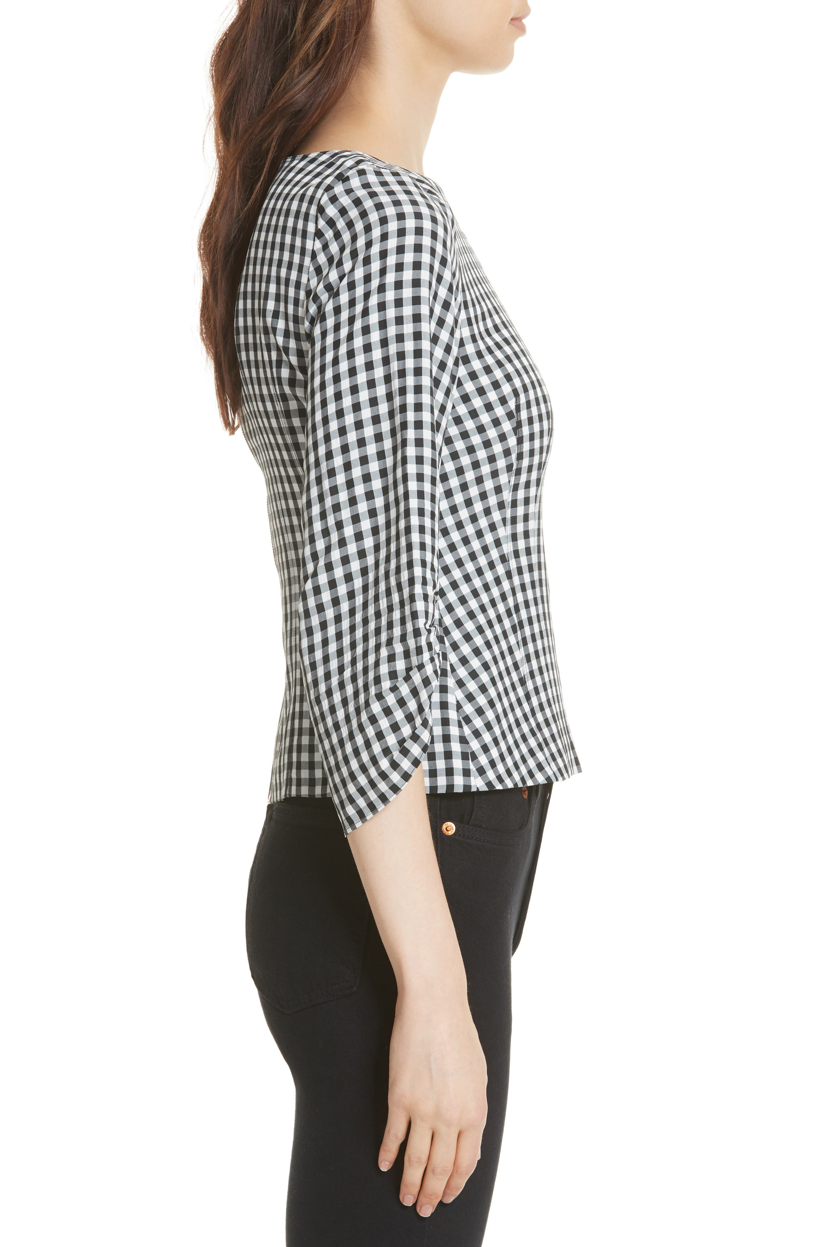 Gingham Corset Peplum Blouse,                             Alternate thumbnail 3, color,                             006