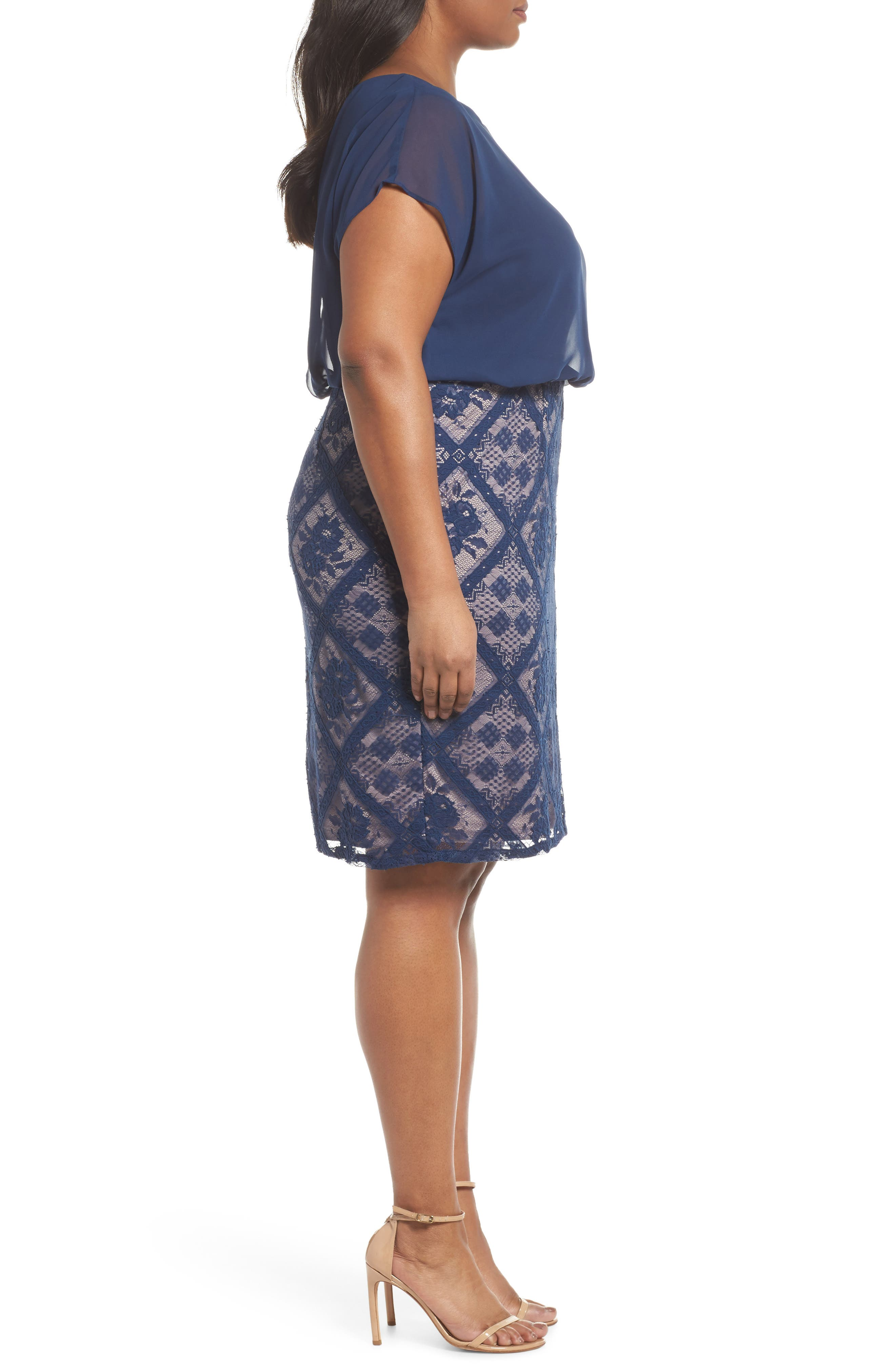 Chiffon & Lace Blouson Dress,                             Alternate thumbnail 3, color,                             412