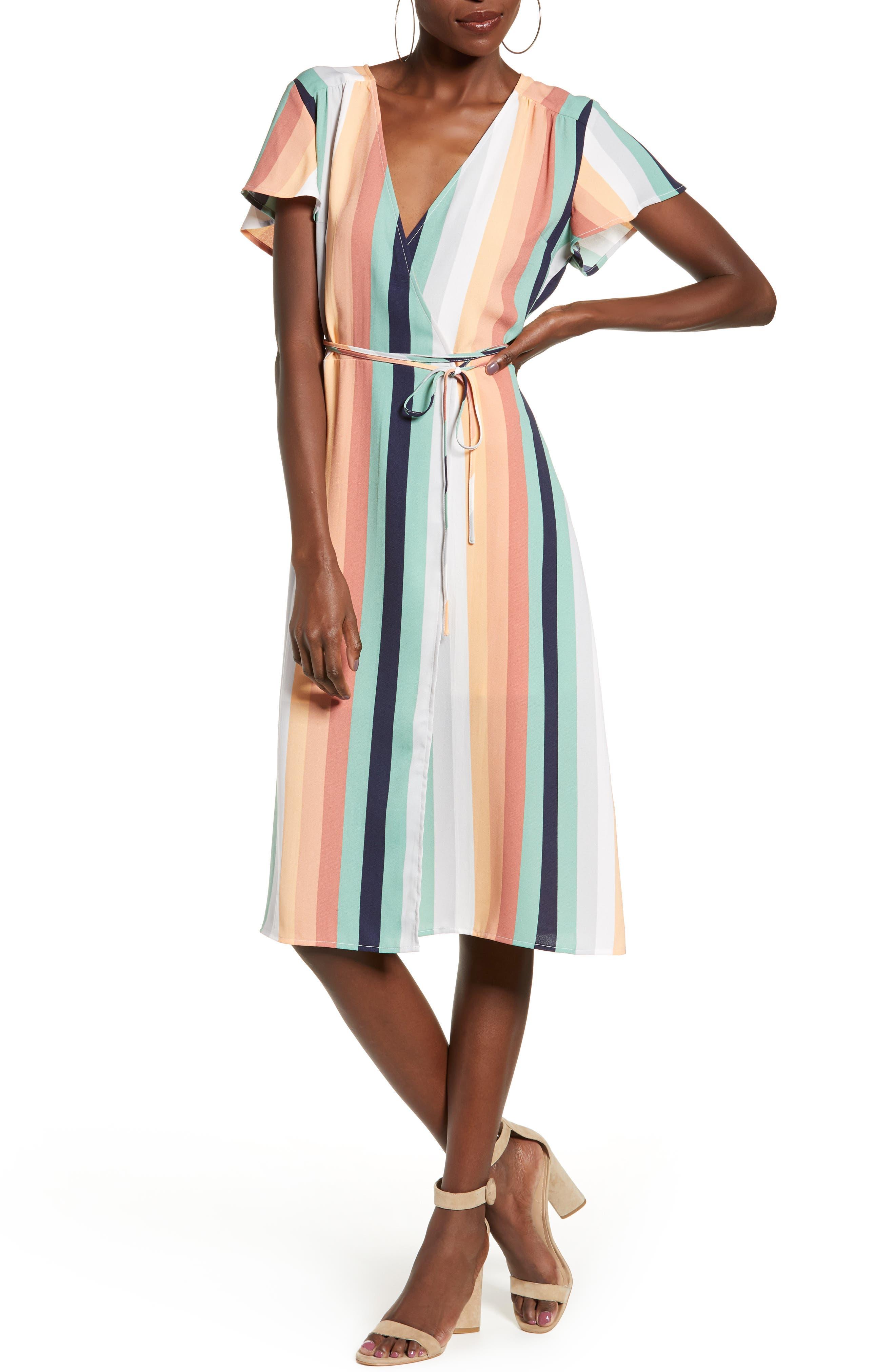 Leith Midi Wrap Dress, Coral