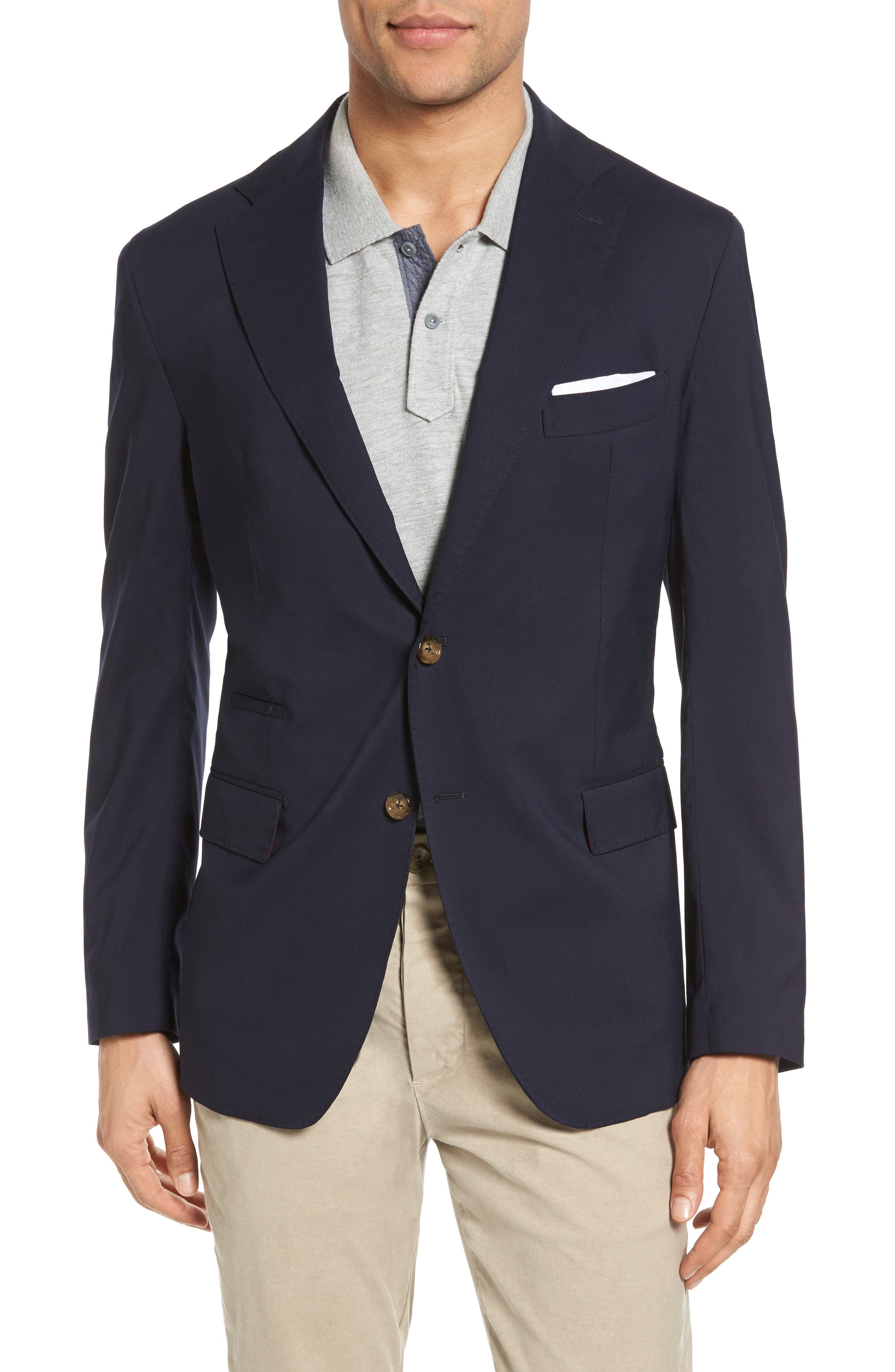 Trim Fit Wool Blazer,                             Main thumbnail 1, color,                             NAVY