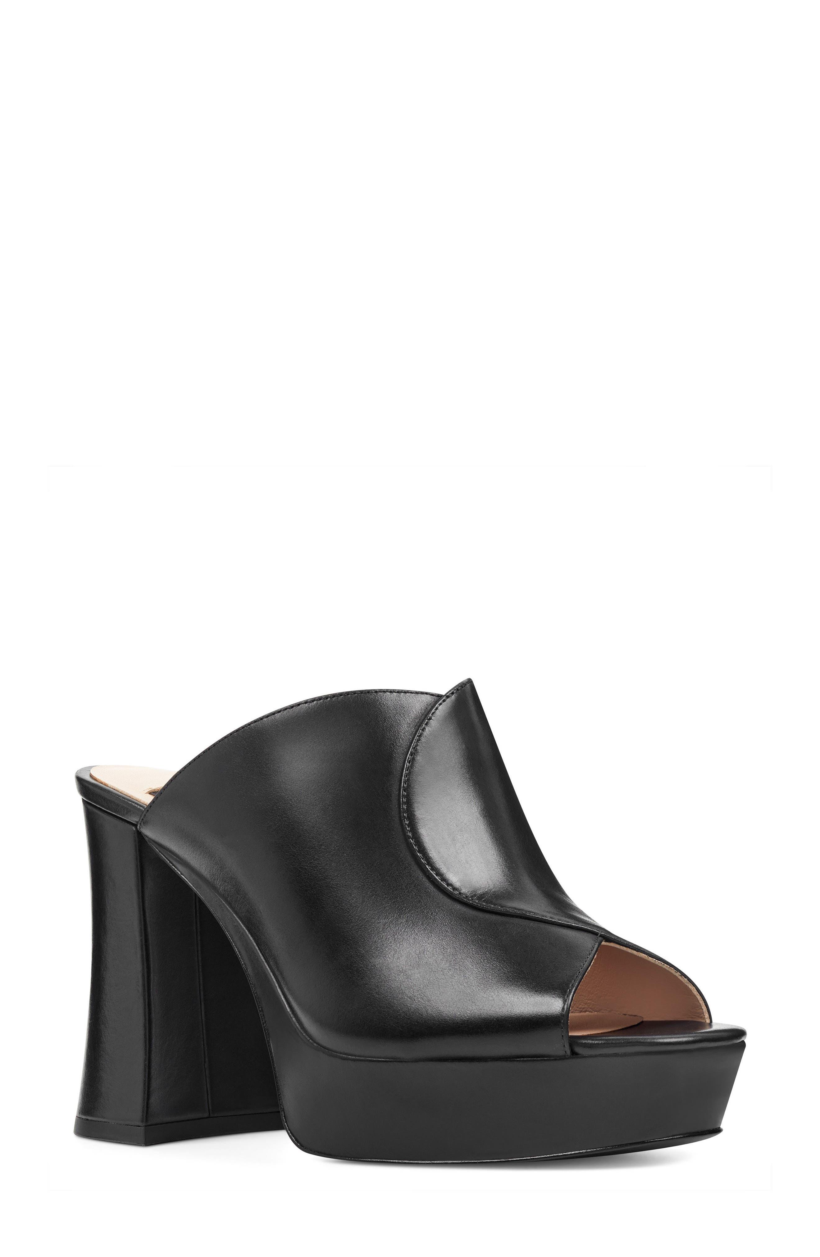 Lisana - 40th Anniversary Capsule Collection Platform Slide Sandal,                         Main,                         color, BLACK LEATHER