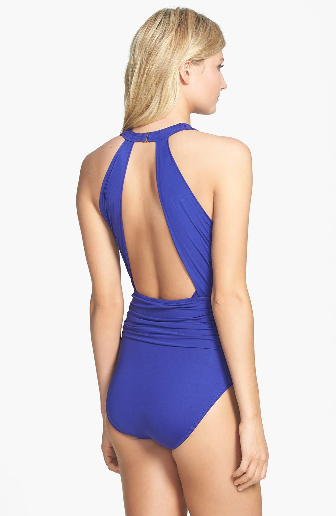 Dip Back Maillot Swimsuit,                             Alternate thumbnail 7, color,