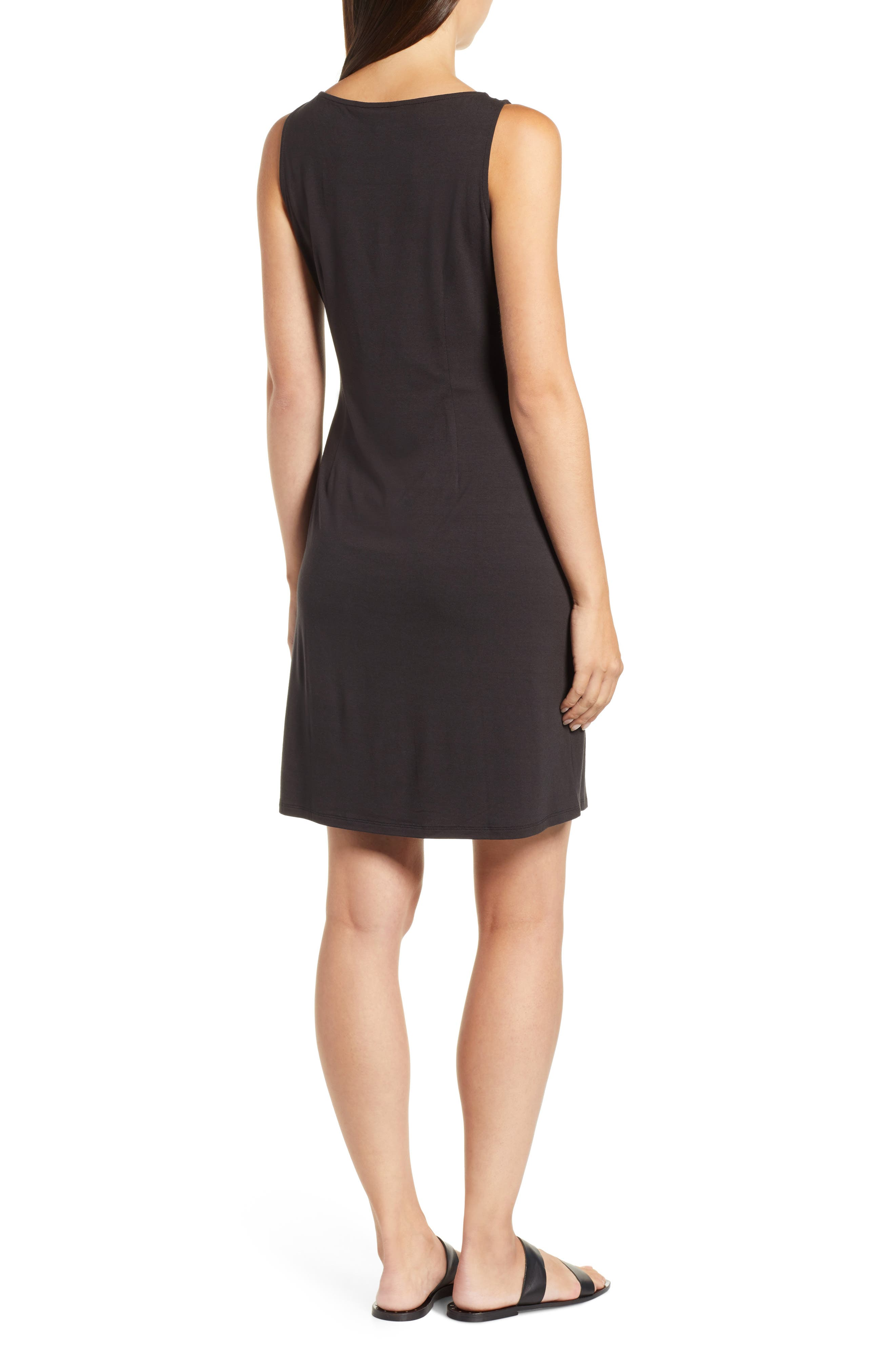 Tambour Shift Dress,                             Alternate thumbnail 2, color,                             BLACK