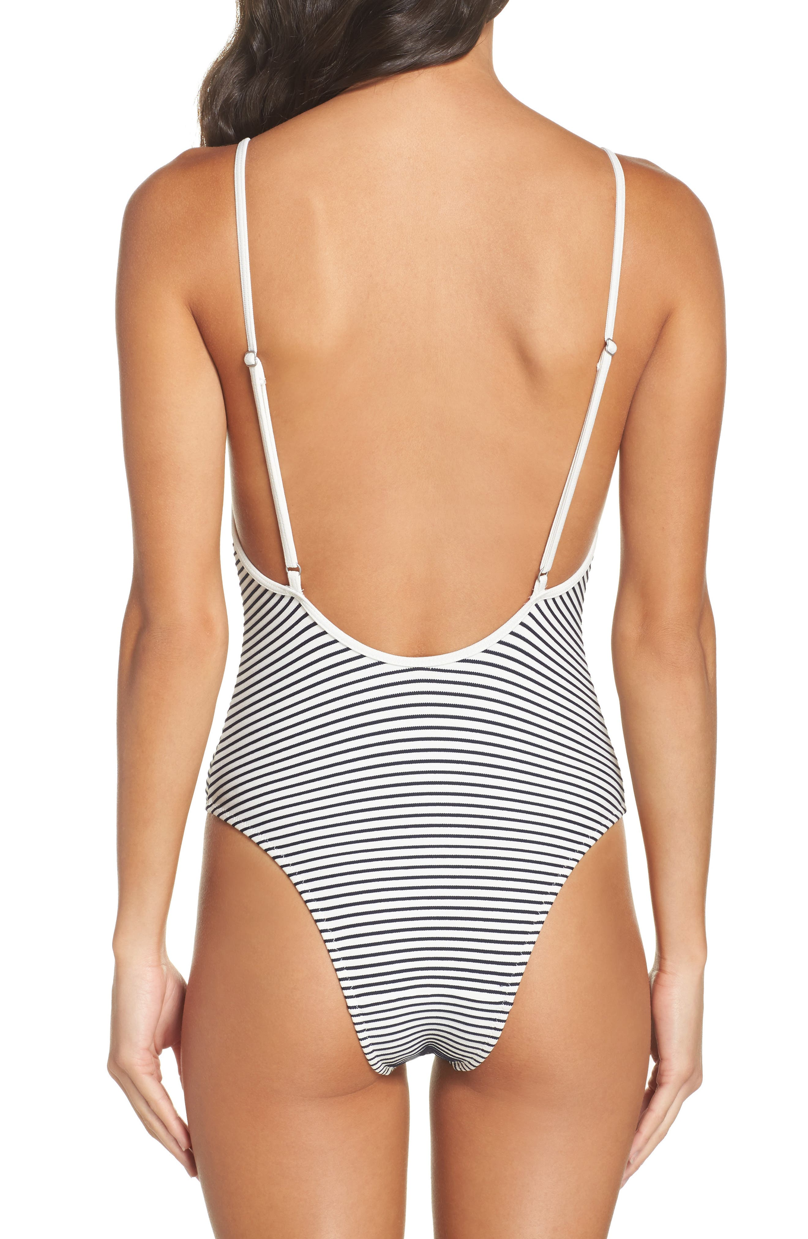 Striped & Solid Chelsea One-Piece Swimsuit,                             Alternate thumbnail 4, color,