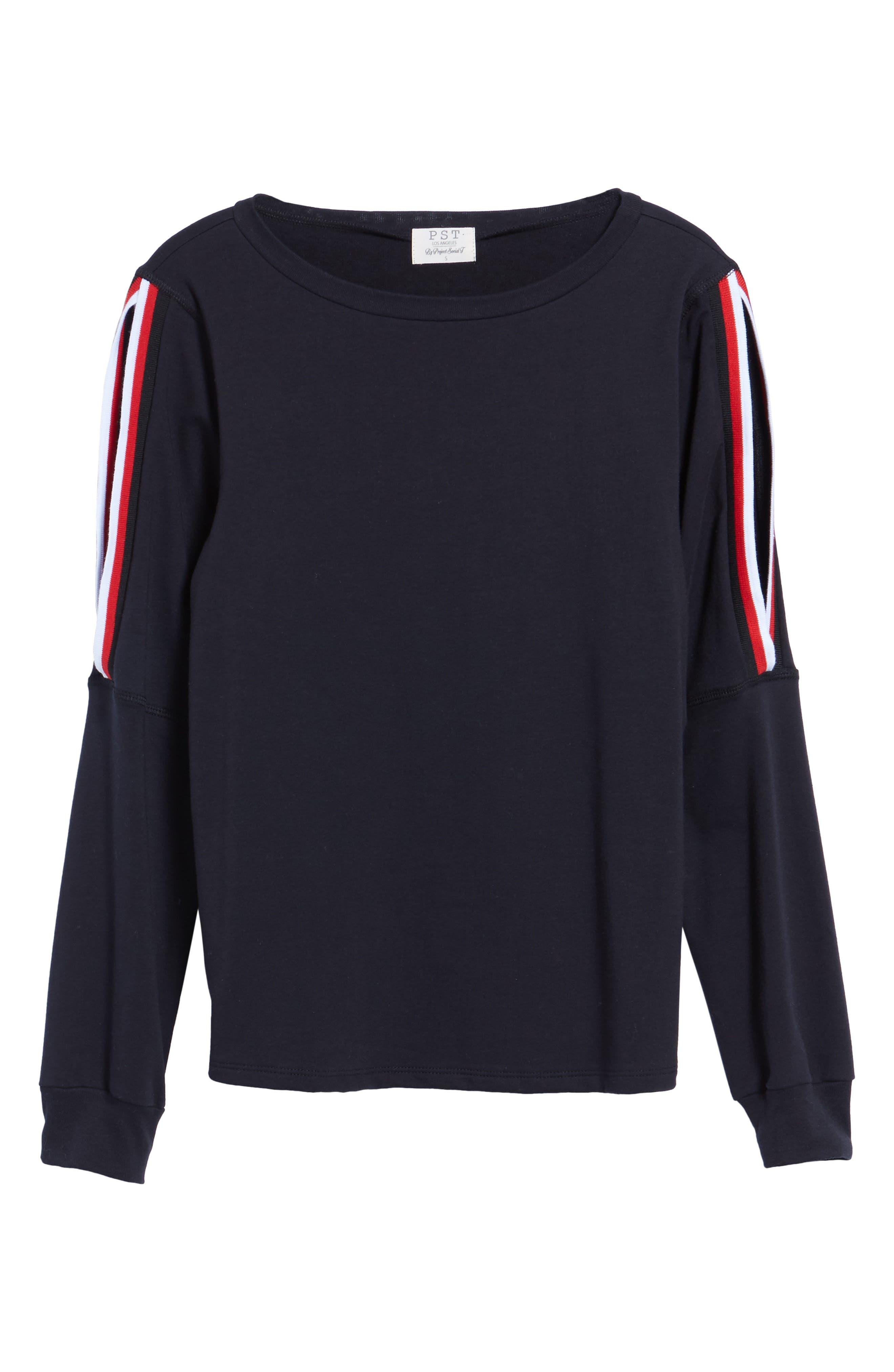 Sporty Cold Shoulder Sweatshirt,                             Alternate thumbnail 6, color,                             001
