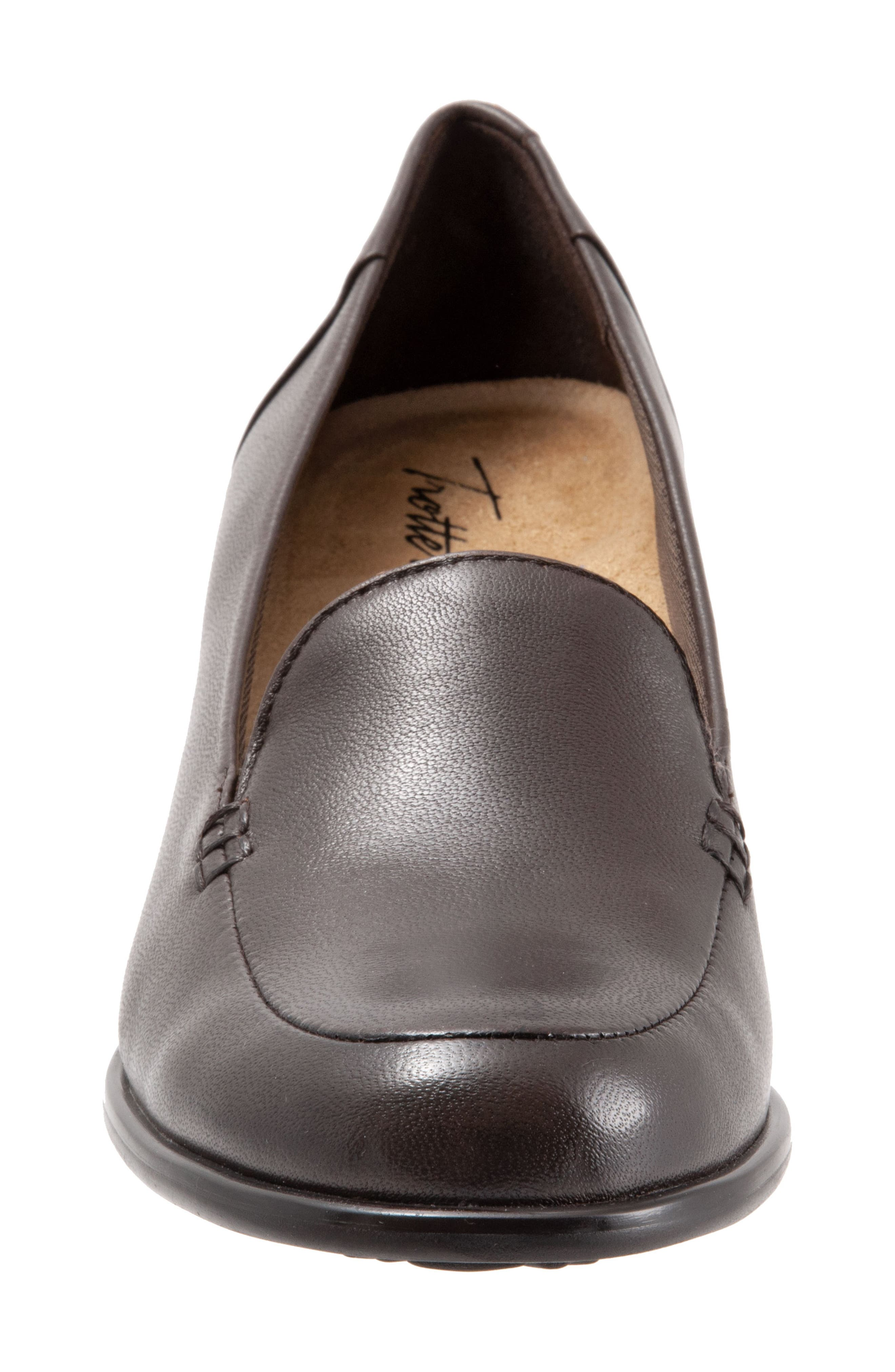 Quincy Loafer Pump,                             Alternate thumbnail 4, color,                             DARK BROWN LEATHER