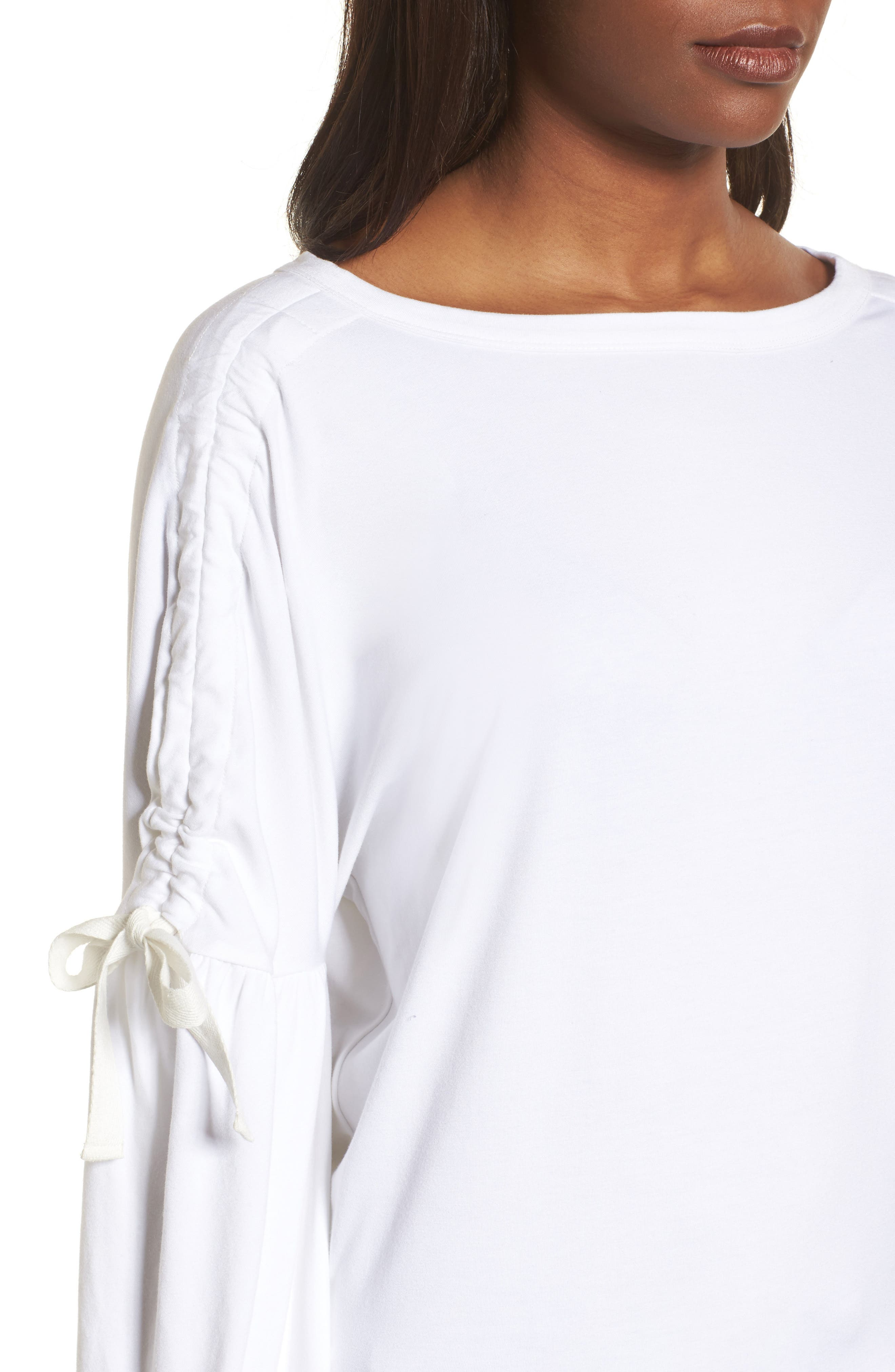 Ruched Bow Sleeve Top,                             Alternate thumbnail 14, color,