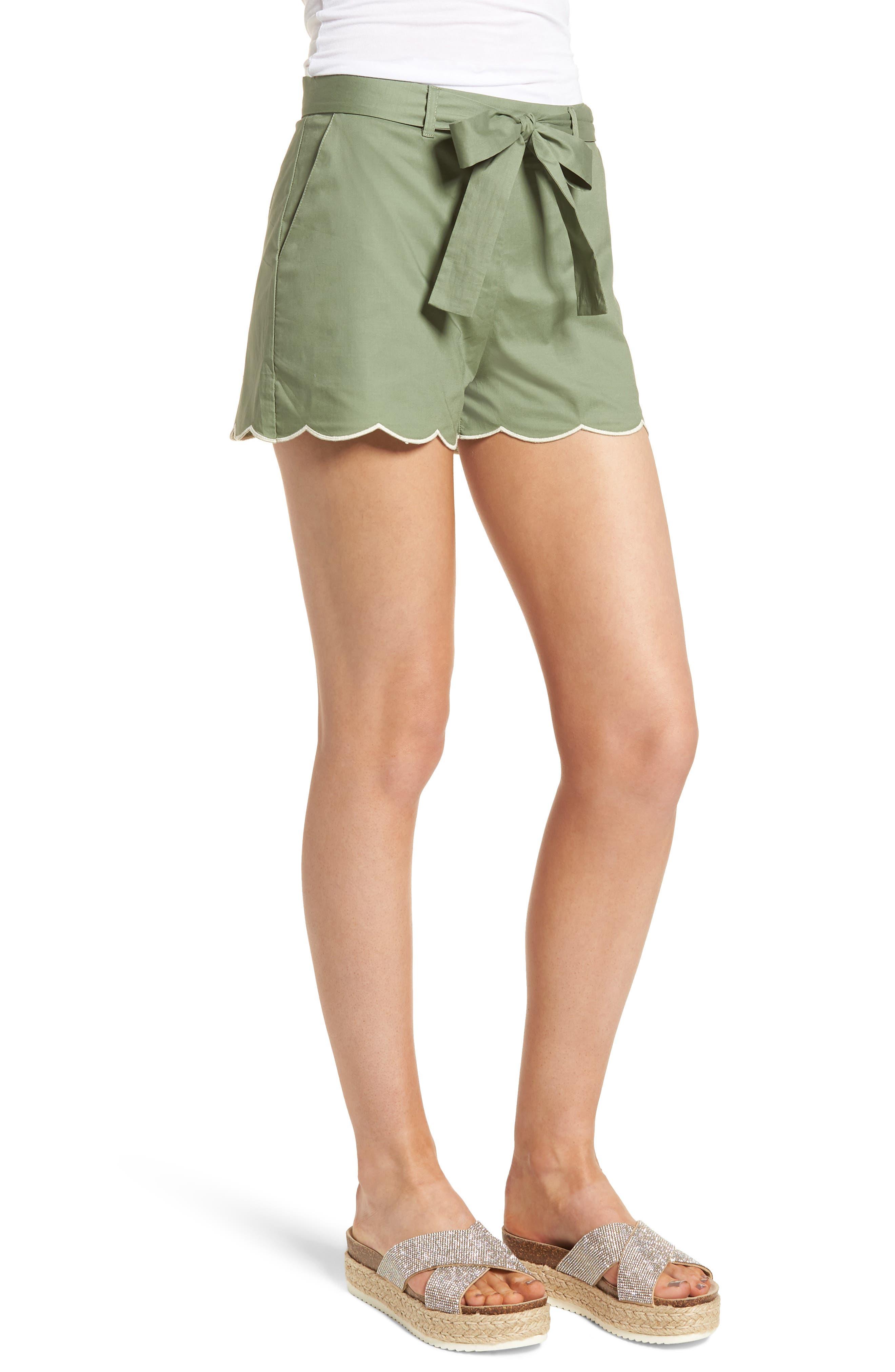 Tie Waist Scallop Hem Shorts,                             Alternate thumbnail 3, color,                             GREEN BRONZE